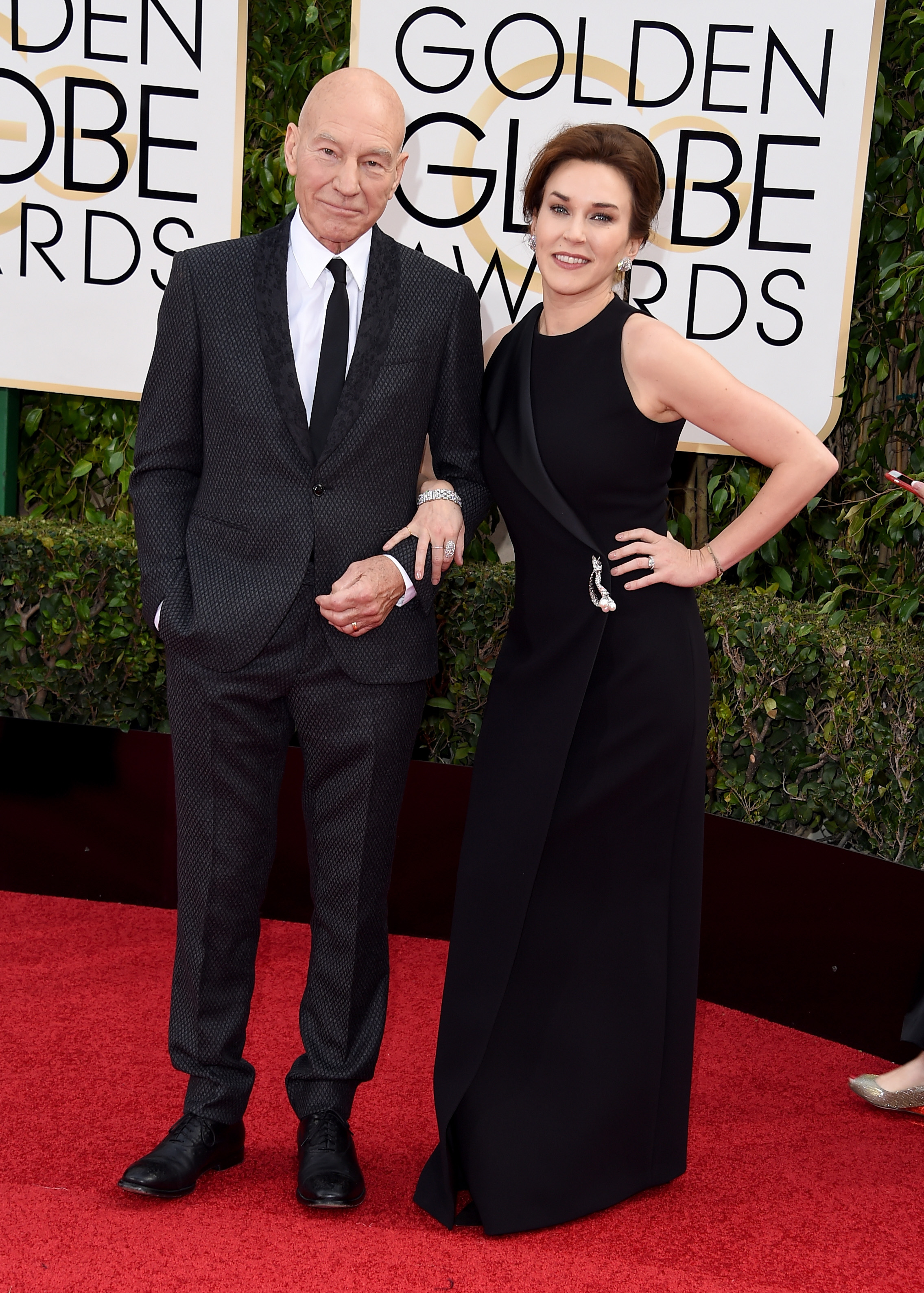 Patrick Stewart and Sunny Ozell arrive to the 73rd Annual Golden Globe Awards on Jan. 10, 2016 in Beverly Hills.