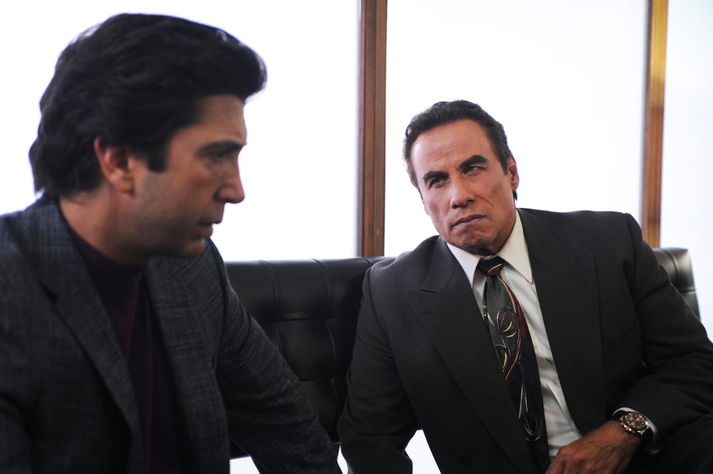 David Schwimmer as Robert Kardashian and John Travolta as Robert Shapiro in The People v. O. J. Simpson.
