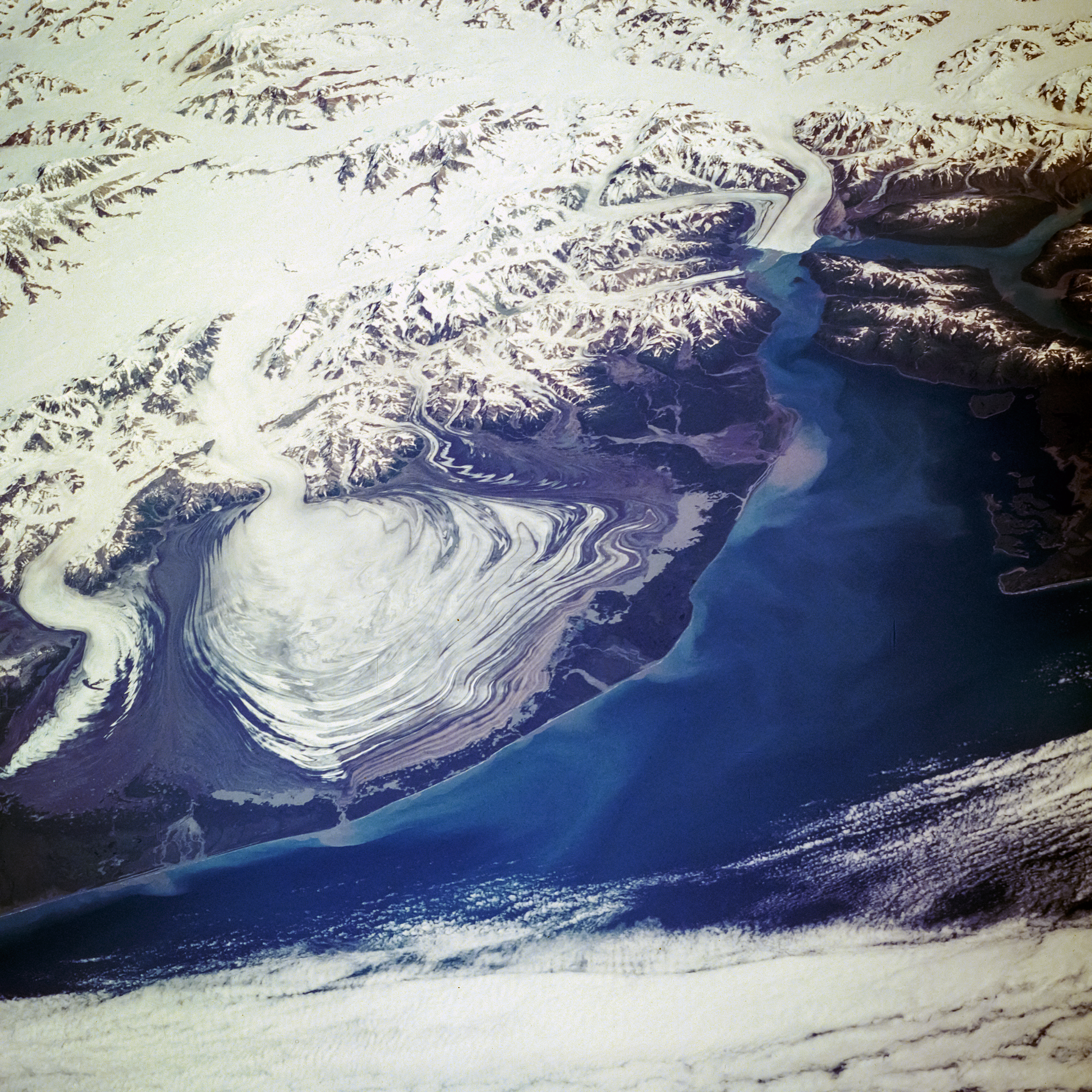 Aerial view of the Hubbard Glacier which is a  glacier located in eastern Alaska and part of Yukon Canada. Elements of this image furnished by NASA.