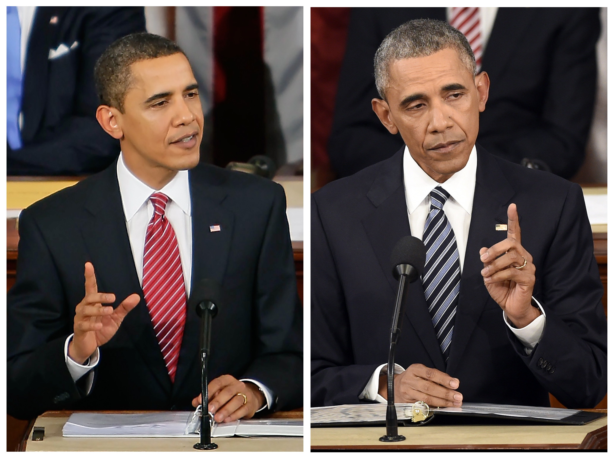 President Barack Obama in his 2009 address to a joint session of congress, left, and in the 2016 State of the Union address, right.