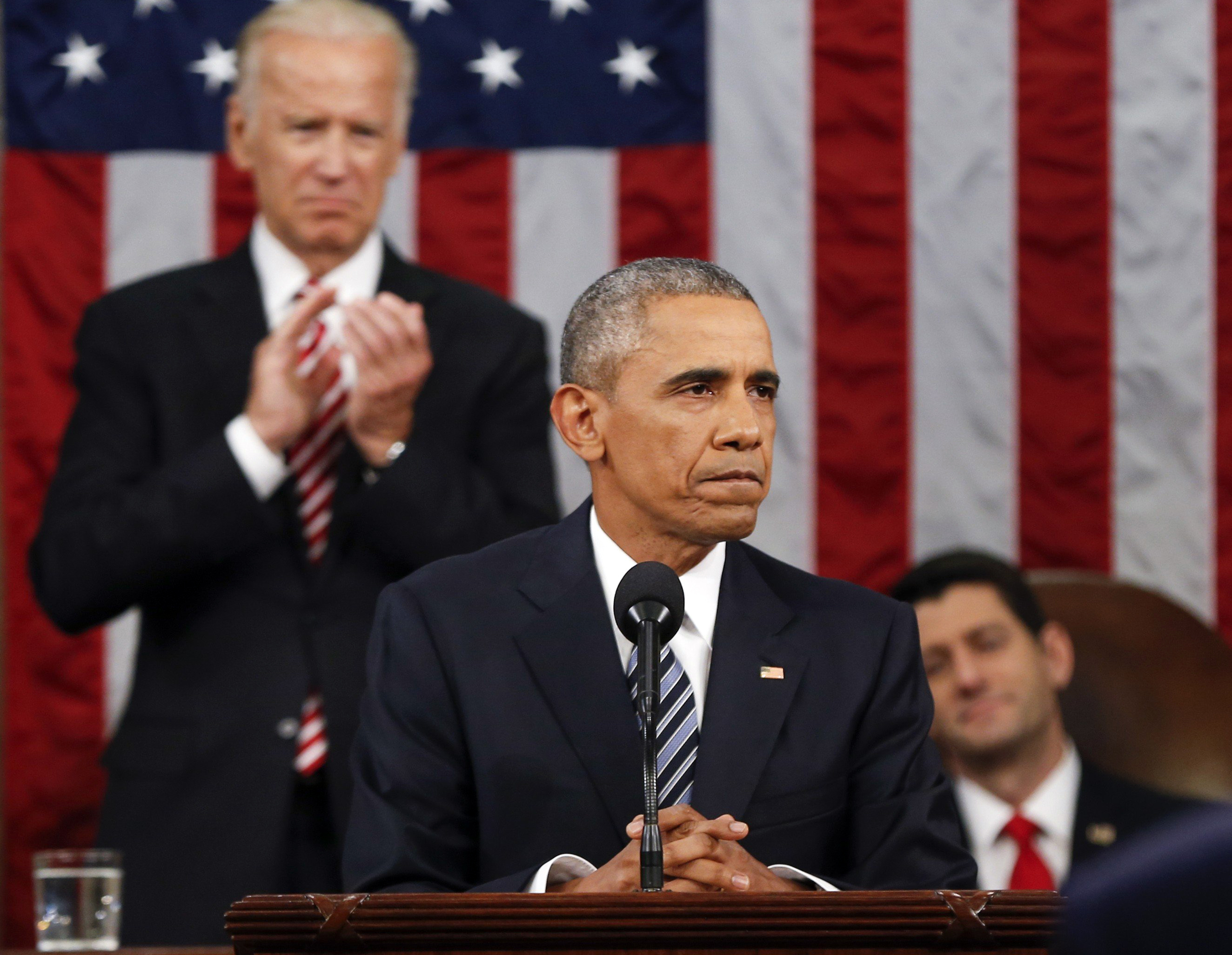 President Barack Obama delivers the State of the Union address before a joint session of Congress on Capitol Hill in Washington, Tuesday, Jan. 12, 2016.
