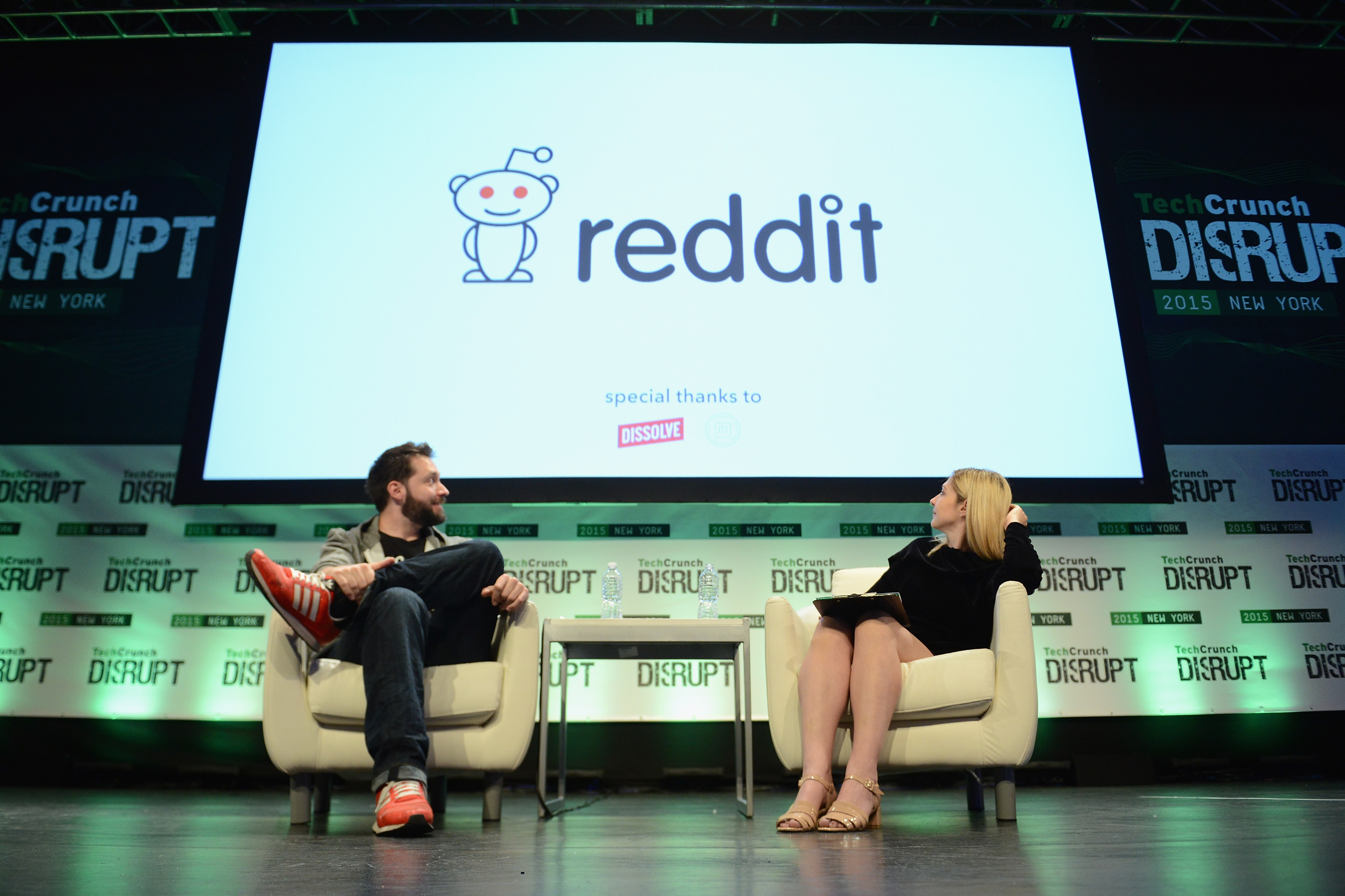 Co-Founder and Executive Chair of Reddit, and Partner at Y Combinator, Alexis Ohanian (L) and co-editor at TechCrunch, Alexia Tsotsis appear onstage during TechCrunch Disrupt NY 2015 - Day 3 at The Manhattan Center on May 6, 2015 in New York City.