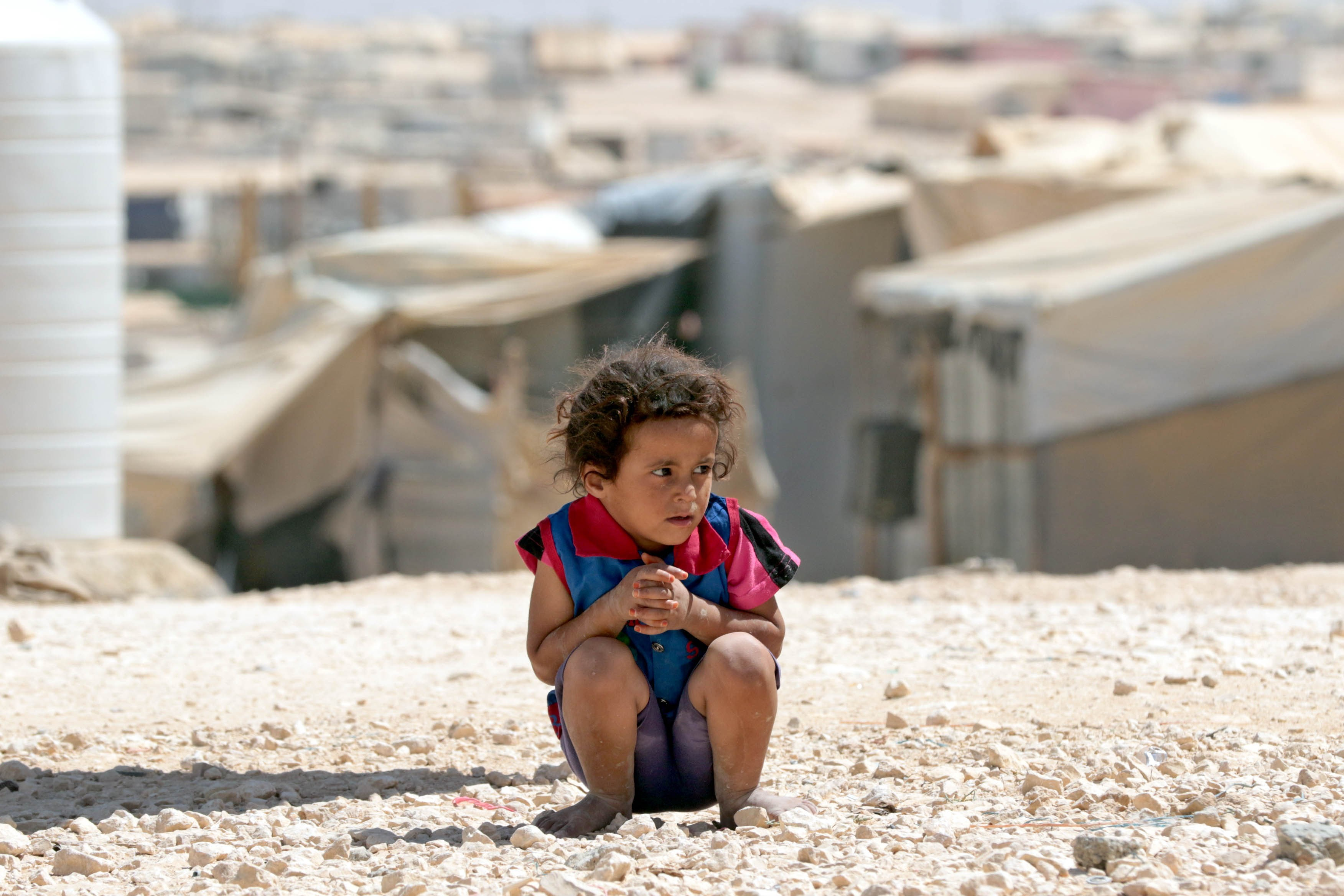 A young Syrian refugee looks on at the UN-run Zaatari camp, north east of the Jordanian capital Amman, on Sept. 19, 2015.
