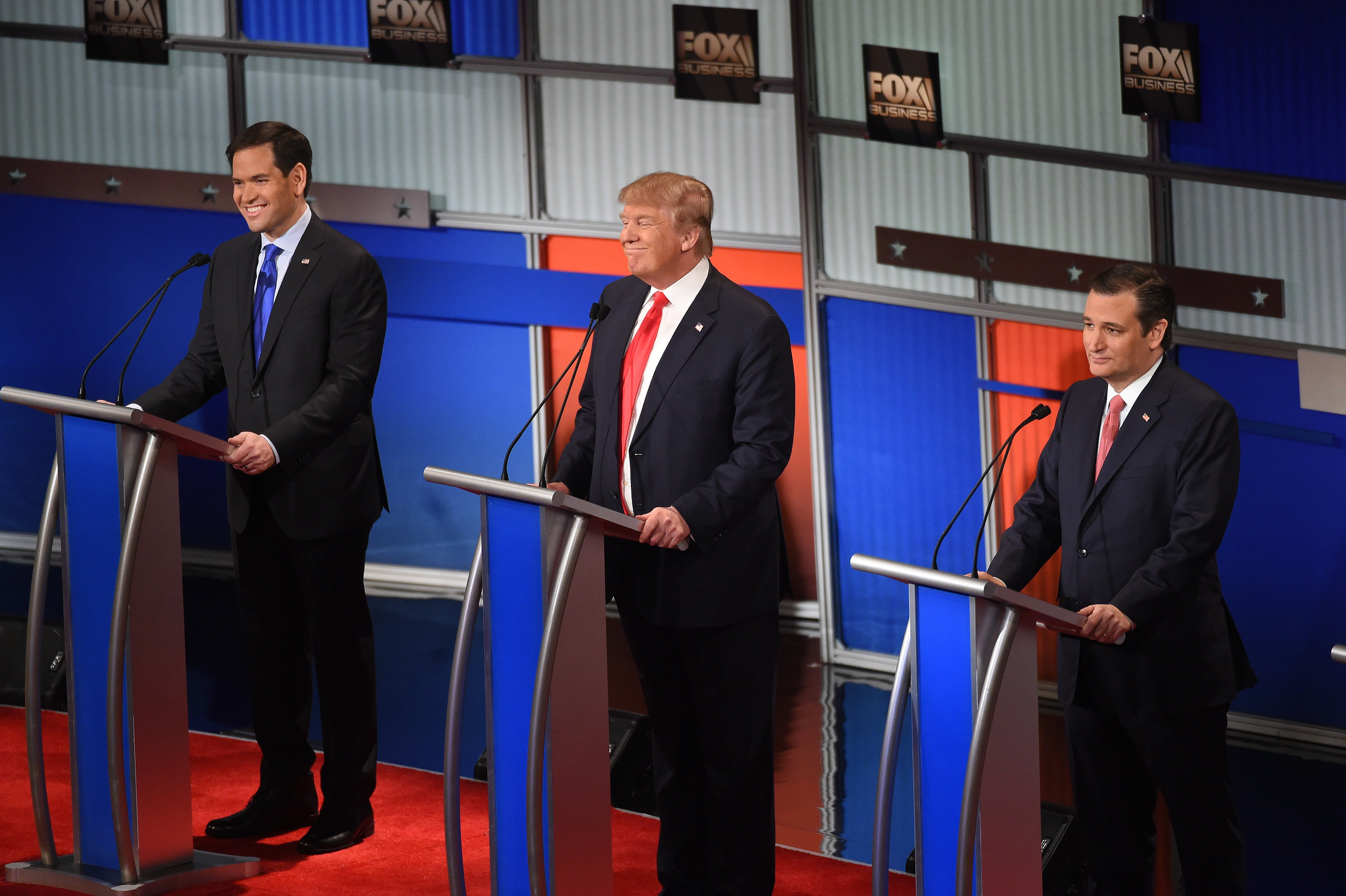 Republican presidential candidates participate during the Fox Business Network Republican presidential debate on Jan. 14, 2016, in North Charleston, S.C.