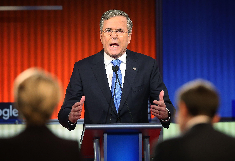 Republican presidential candidate Jeb Bush at the Republican presidential debate Thursday, Jan. 28, 2016, in Des Moines, Iowa.