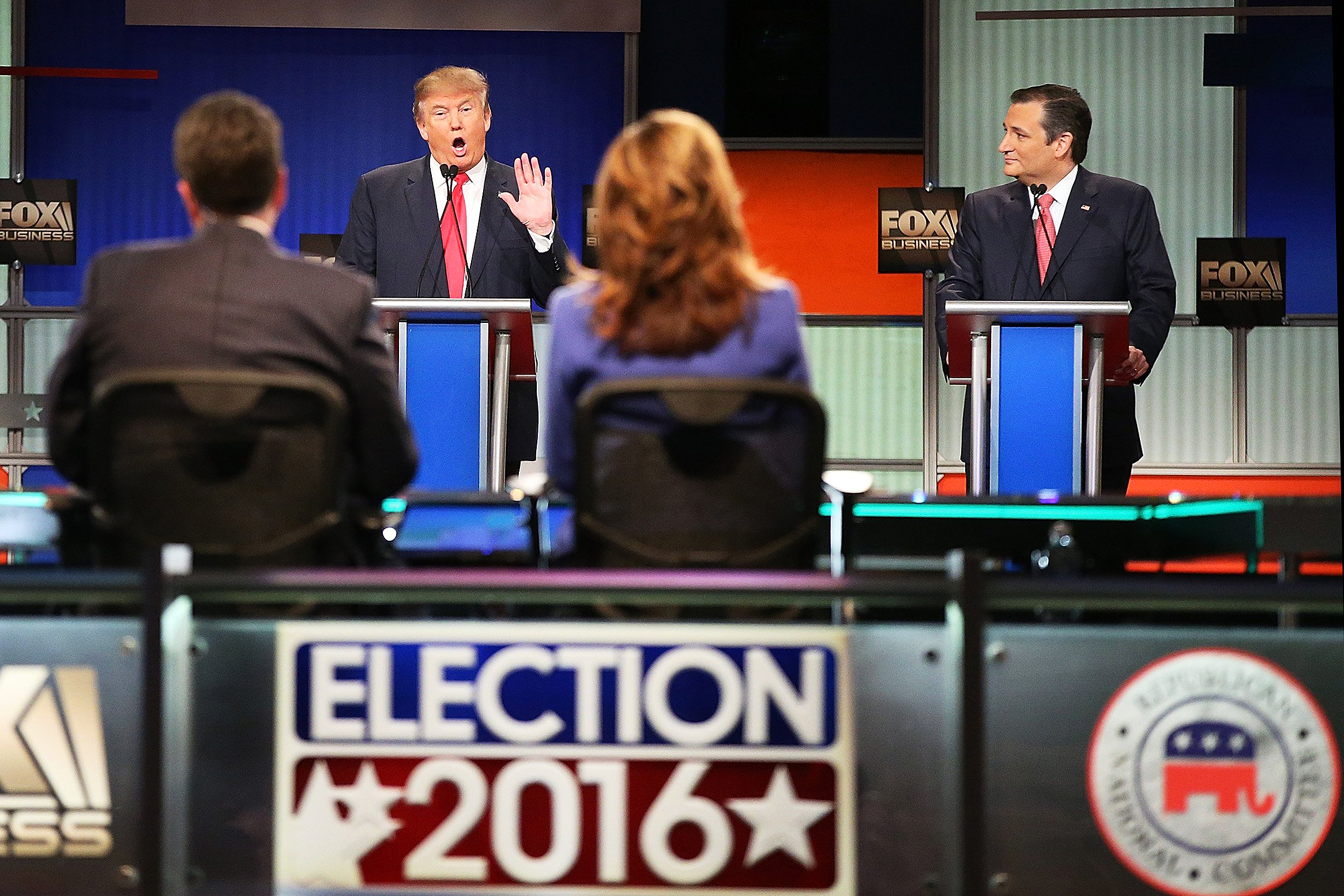 Republican presidential candidates Donald Trump and Sen. Ted Cruz (R-TX) participate in the Republican presidential debate at the North Charleston Coliseum and Performing Arts Center on Jan. 14, 2016 in North Charleston, S.C.