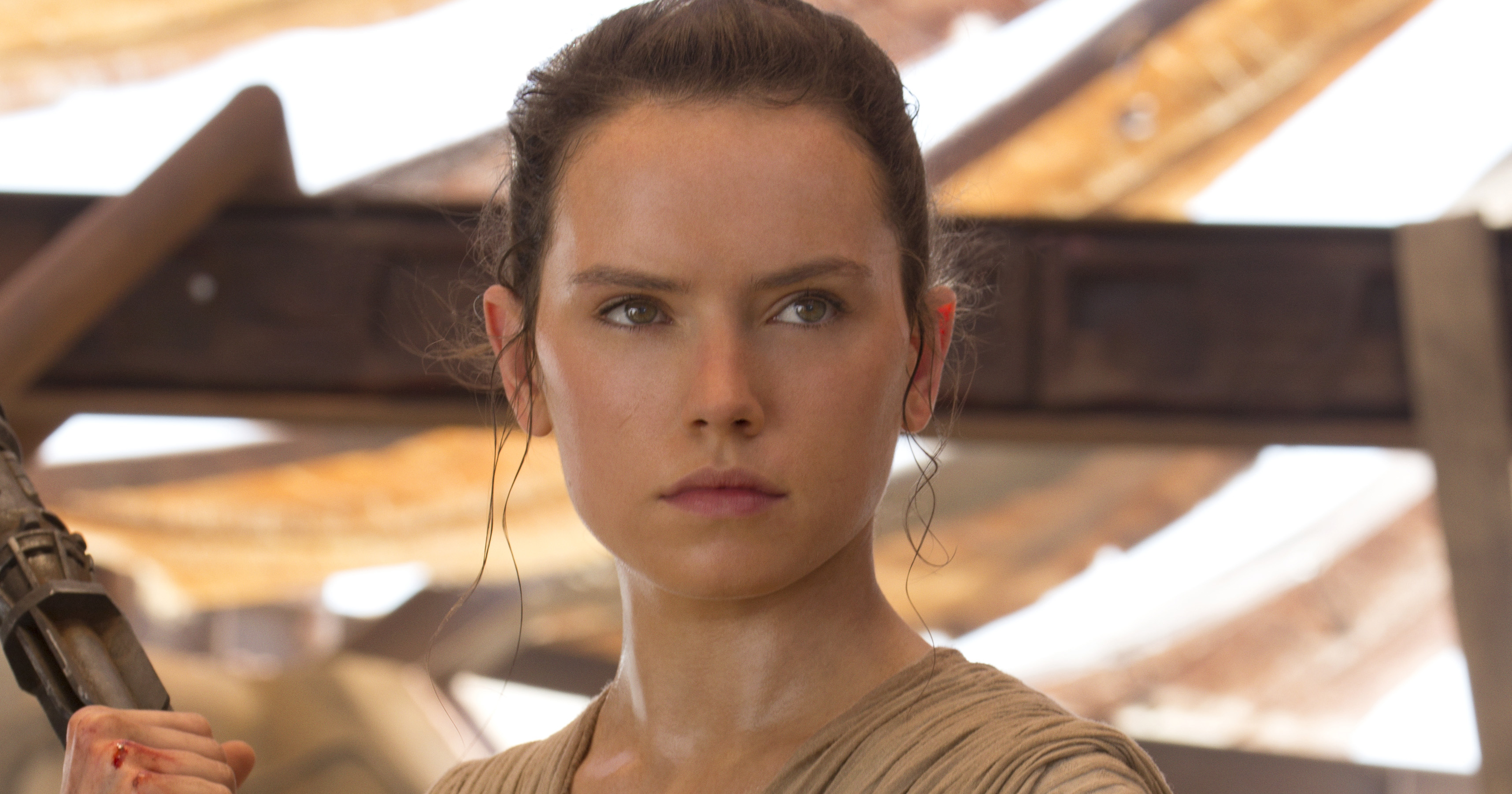 Daisy Ridley as Rey in Star Wars: The Force Awakens.