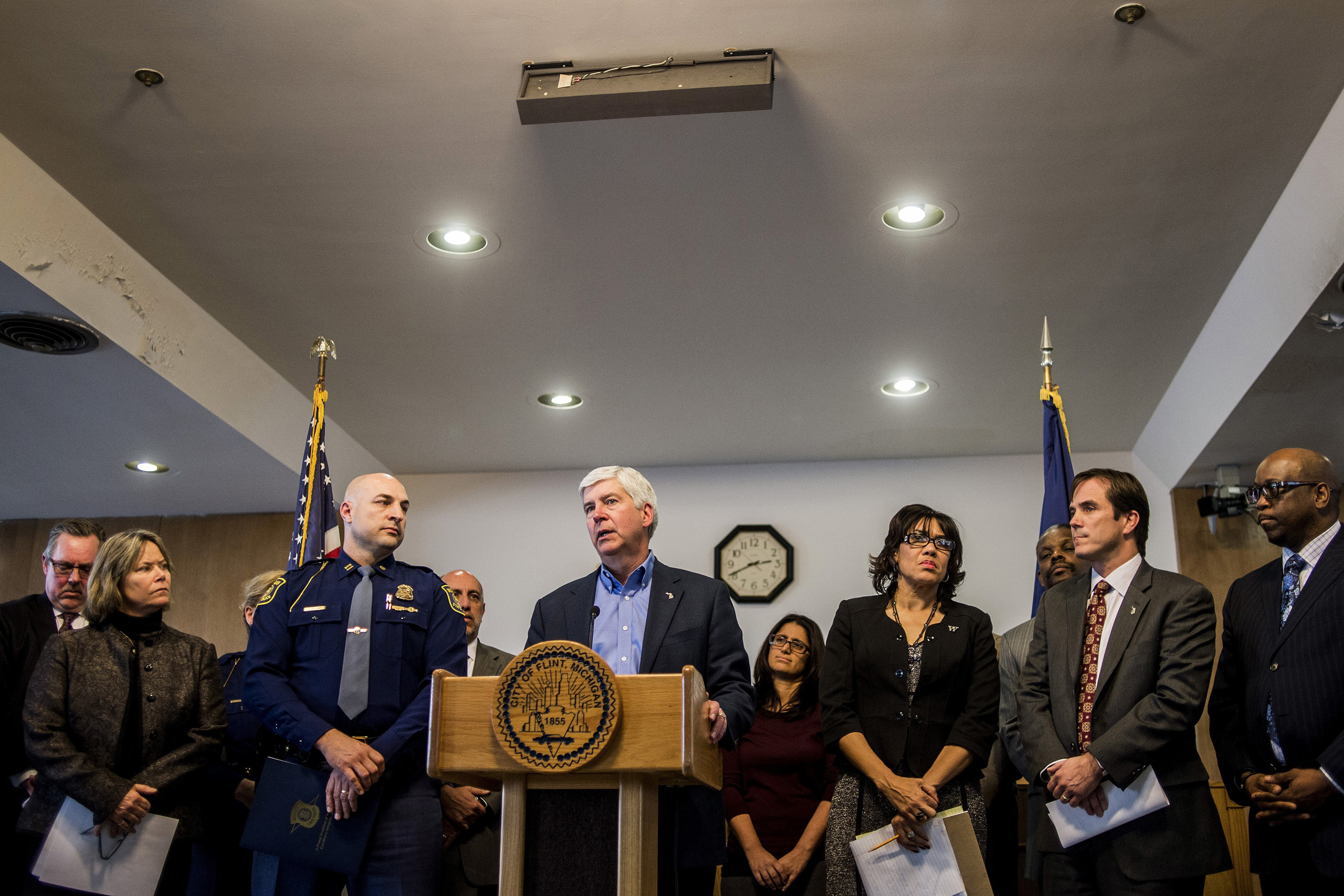 Michigan Gov. Rick Snyder speaks during a news conference in Flint, Mich., on Jan. 11, 2016.