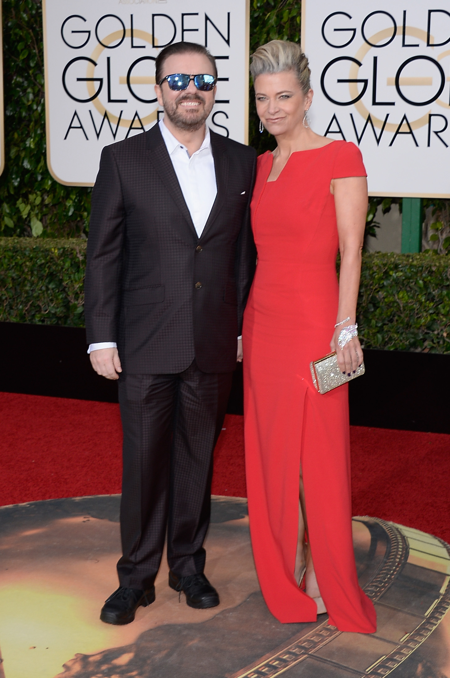 Ricky Gervais and Jane Fallon arrive to the 73rd Annual Golden Globe Awards on Jan. 10, 2016 in Beverly Hills.