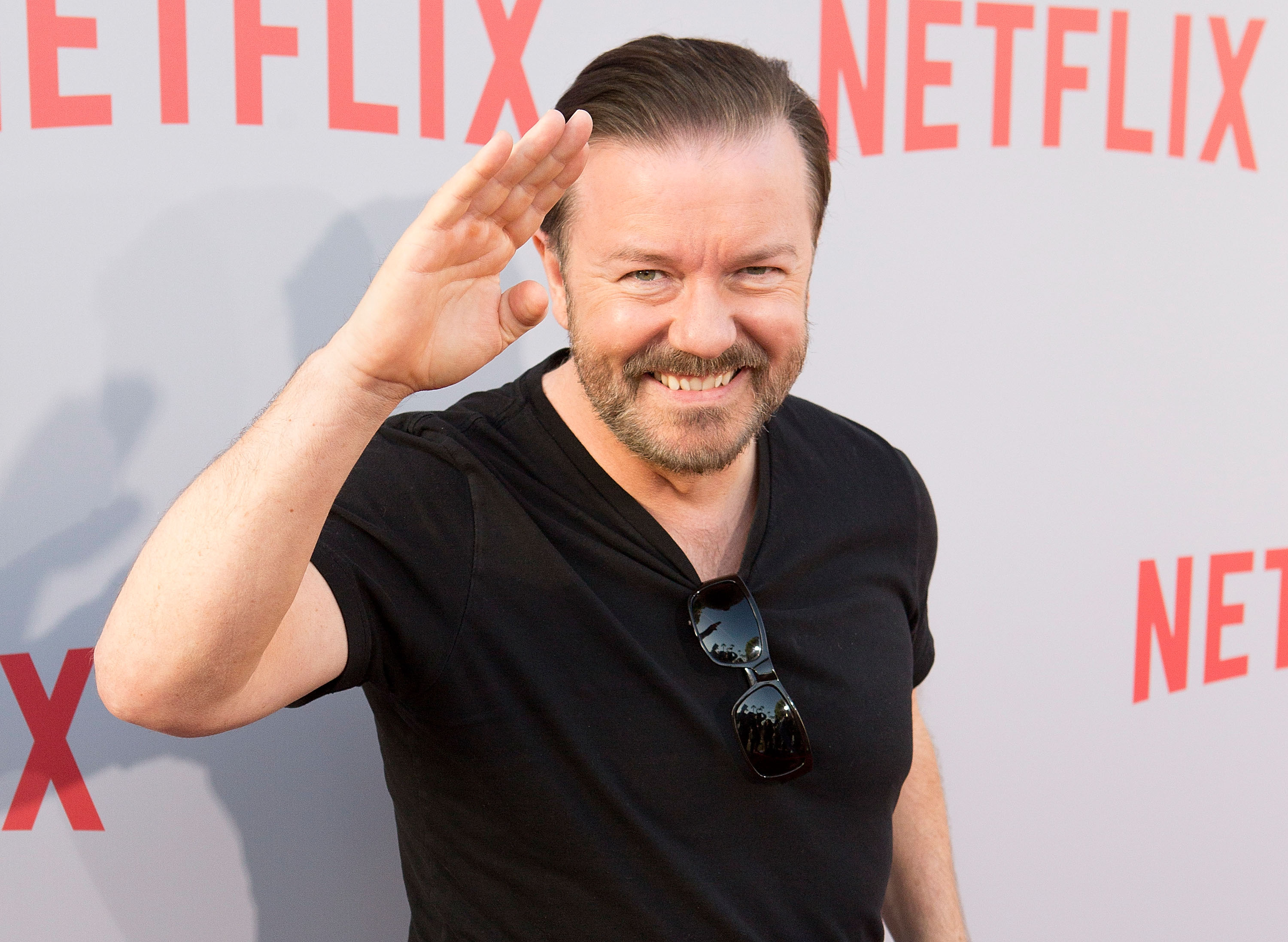Ricky Gervais is seen on April 8, 2015 in Hollywood, Calif.