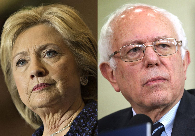 Hillary Clinton in Iowa City, IO on Jan. 21, 2016 (L); Bernie Sanders in Mount Pleasant, IO on Jan. 29, 2016.