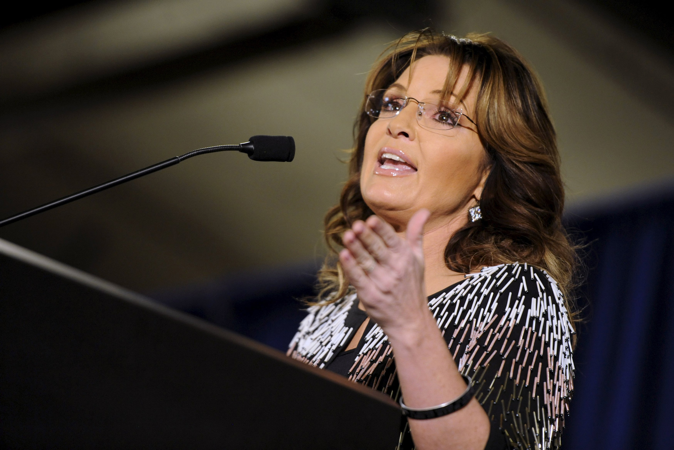 Sarah Palin speaks at a rally endorsing U.S. Republican presidential candidate Donald Trump for President at Iowa State University in Ames, Iowa, on Jan.19, 2016.
