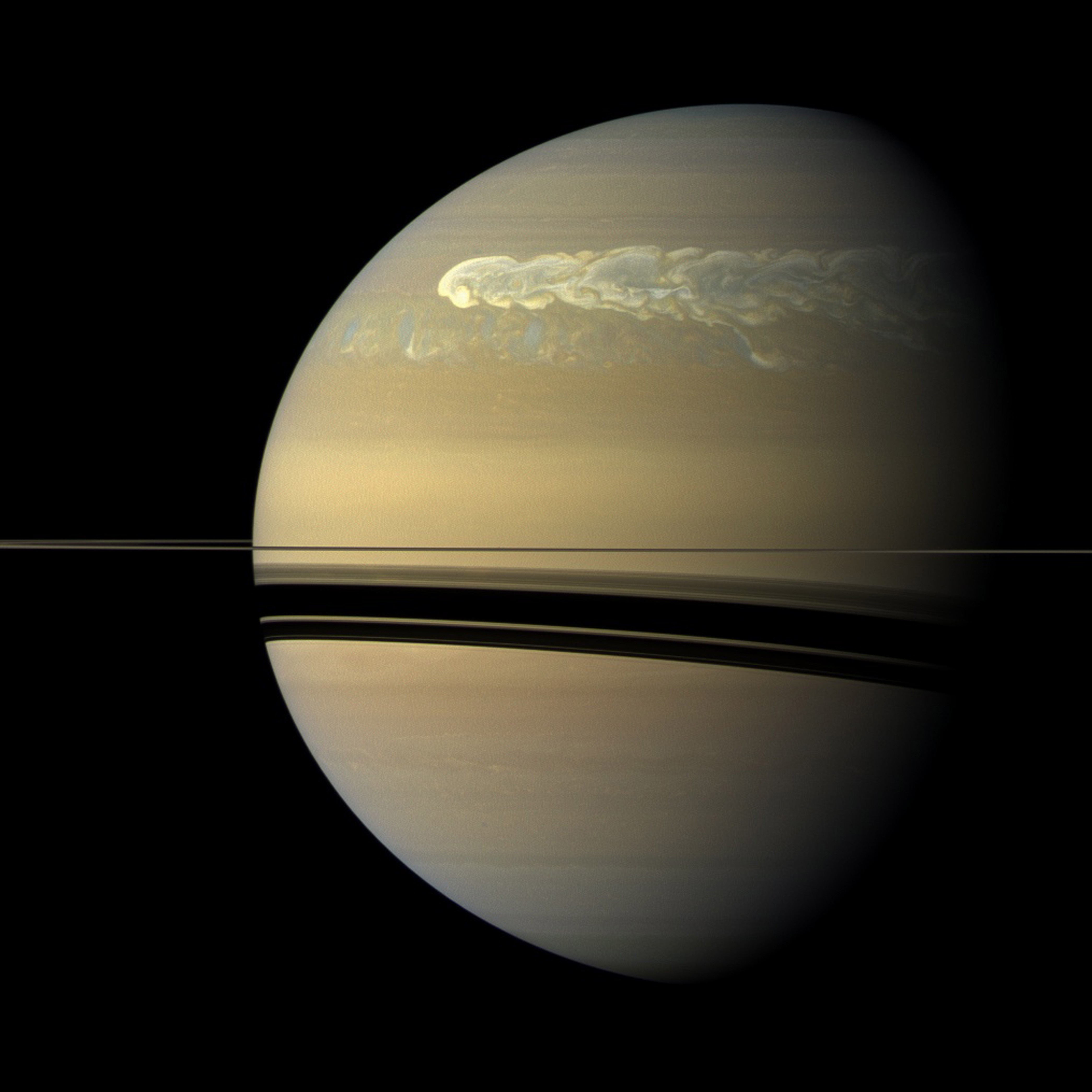 Saturn in a true-color view from NASA's Cassini spacecraft.