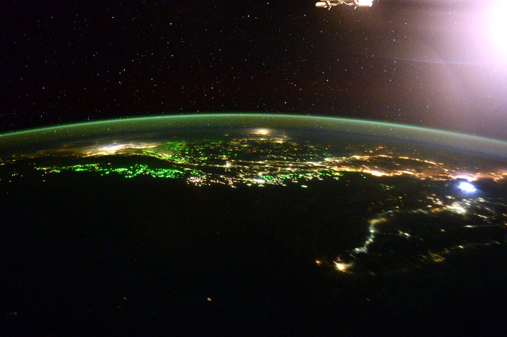 Day 285. South East #Asia giving us the green lights tonight! #GoodNight from @space_station! #YearInSpace  - via Twitter on Jan. 6, 2016