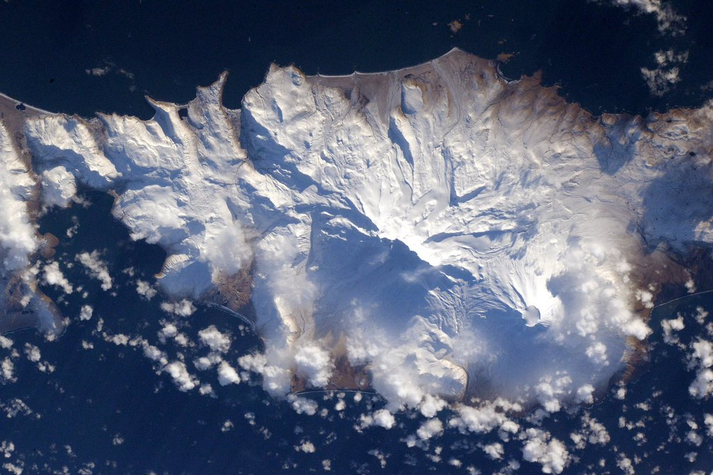 The snows of the #AleutianIslands #volcanoes. #YearInSpace  - via Twitter on Jan. 13, 2016