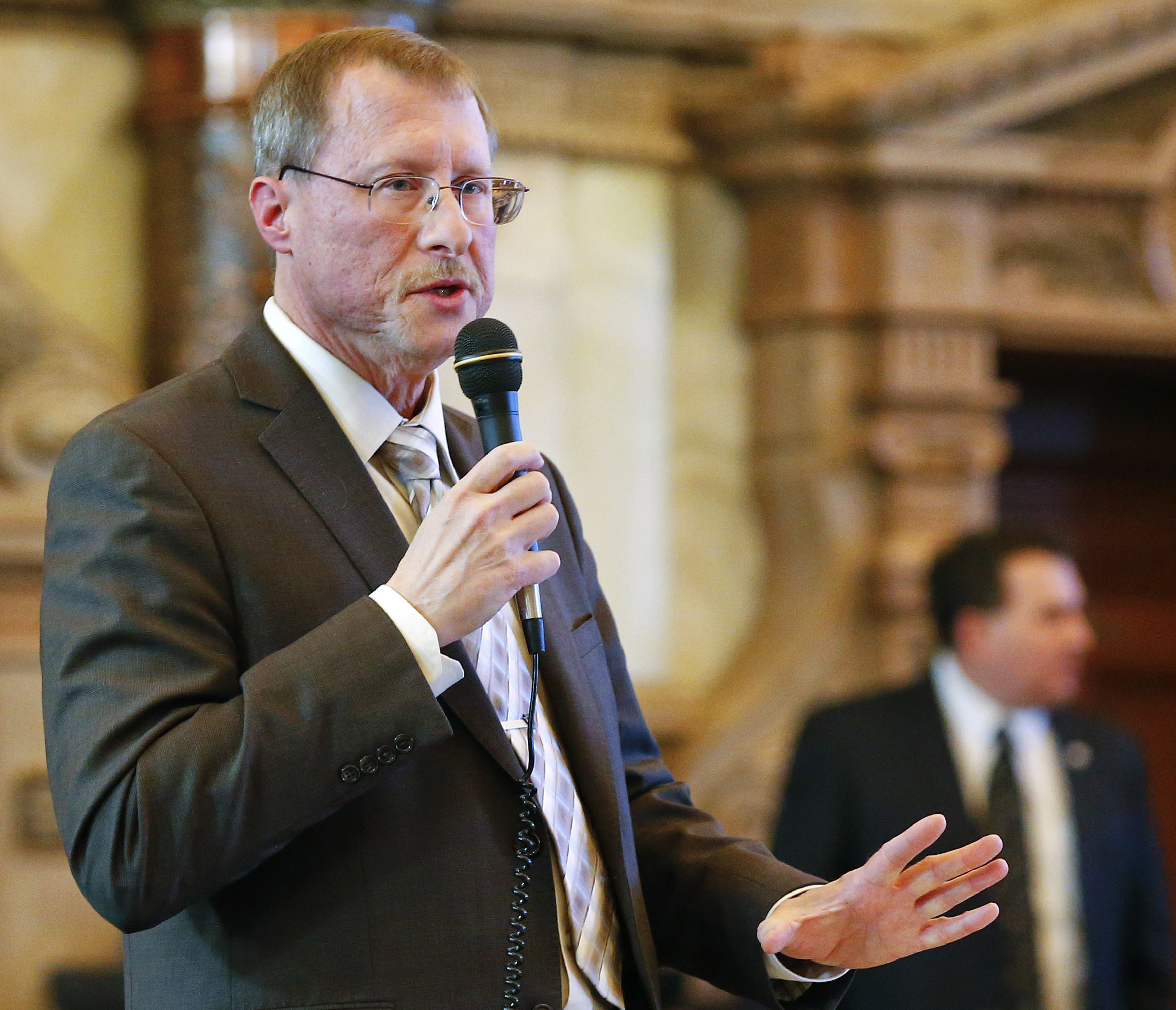 Sen. Mitch Holmes, R-St. John, discusses a bill at the Kansas Statehouse in Topeka on Feb. 26, 2015.