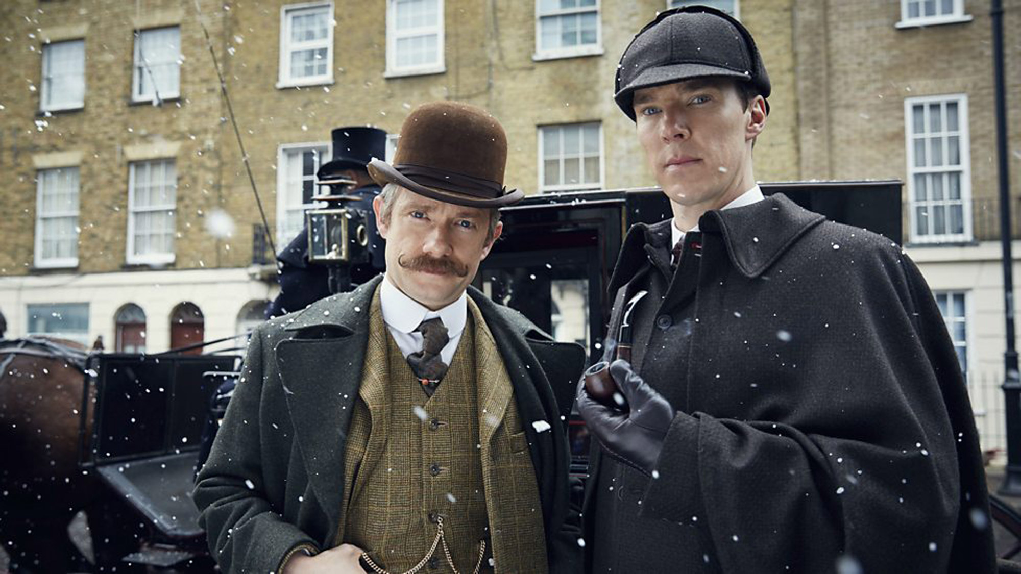 (l-r) Martin Freeman and Benedict Cumberbatch in Sherlock: the Abominable Bride