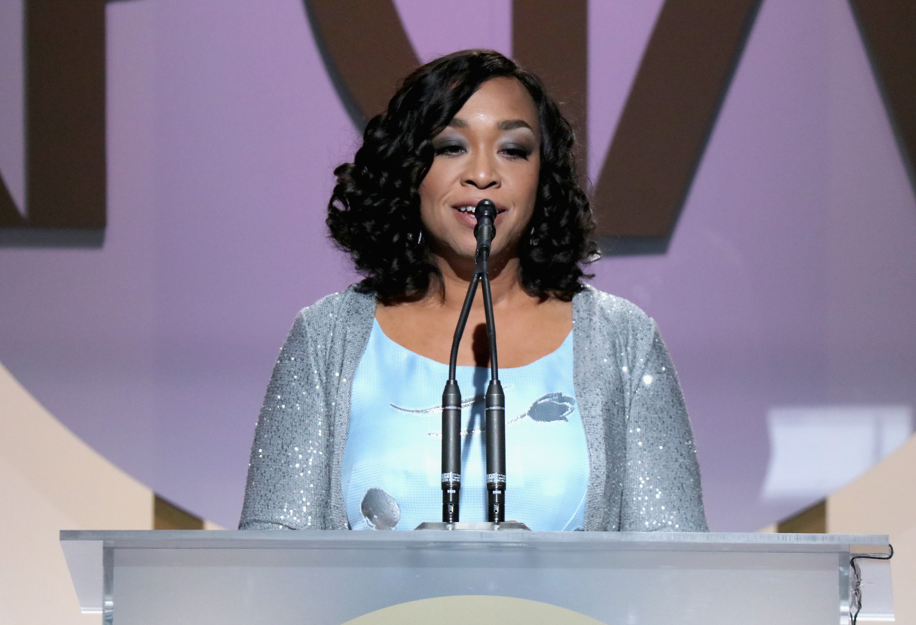 Shonda Rhimes on stage at the 27th Annual Producers Guild Awards at the Hyatt Regency Century Plaza in Century City, Calif., on Jan. 23, 2016.