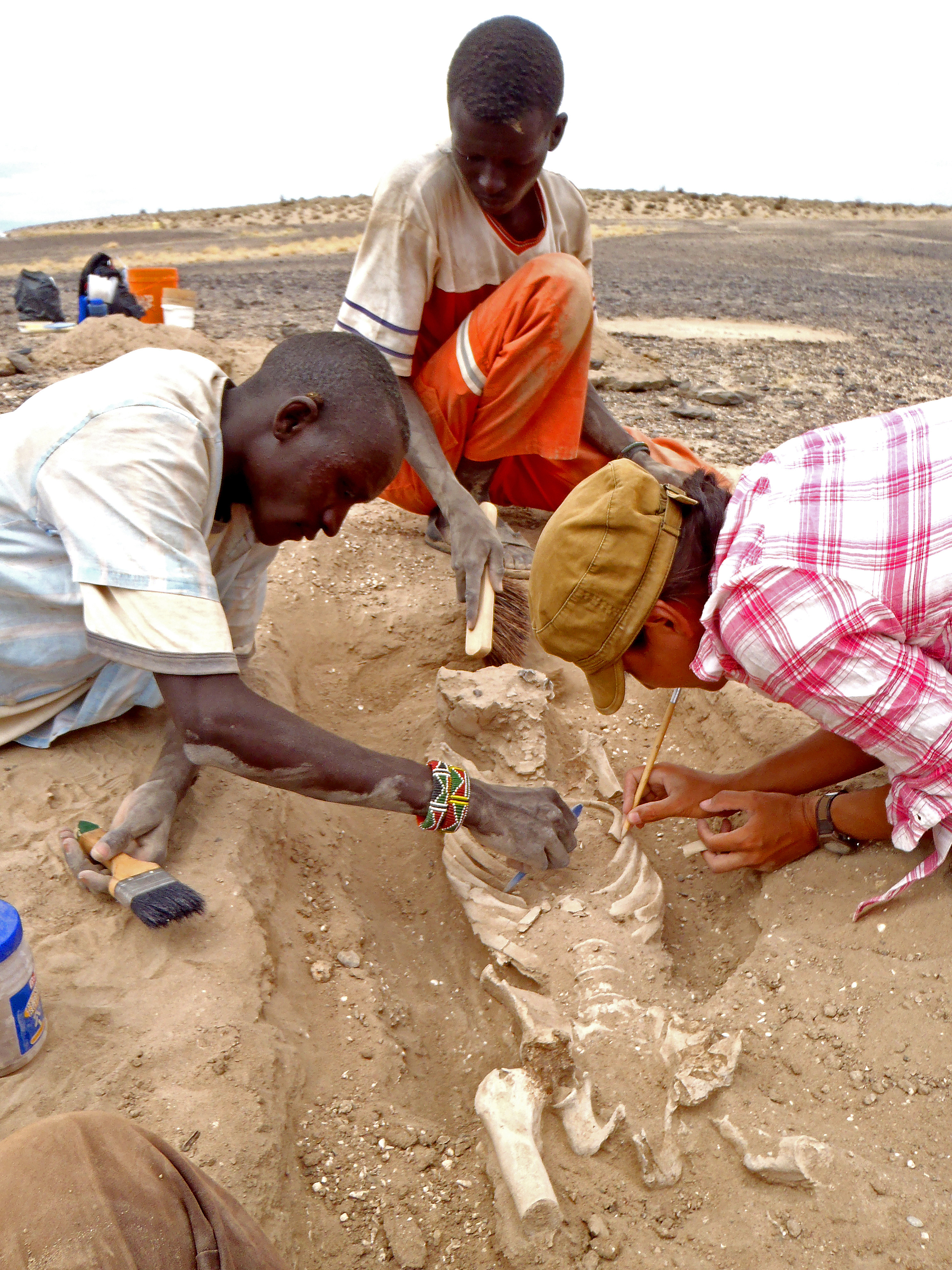 In this August 2012 photo provided by Marta Mirazon Lahr, researcher Frances Rivera, right, Michael Emsugut, left, and Tot Ekulukum excavate a human skeleton at the site of Nataruk, West Turkana, Kenya. This skeleton was that of a woman, found lying on her back, with lesions on her neck vertebrae consistent with a projectile wound. She also had multiple fractures on one of her hands. In a paper released on Jan. 20, 2016, by the Nature Journal, scientists said it's one of the clearest cases of violence between groups among prehistoric hunter-gatherers.