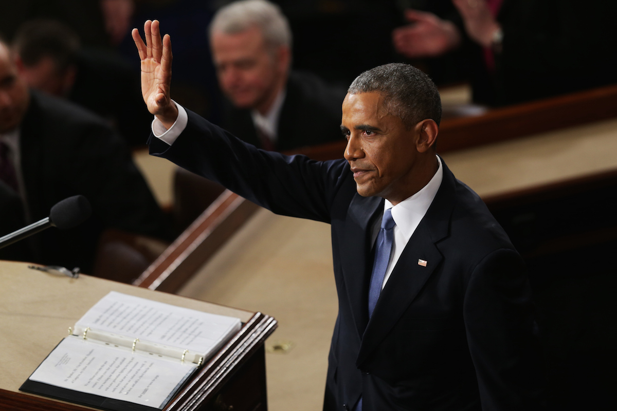 U.S. President Barack Obama waves at the conclusion of his State of the Union speech before members of Congress in the House chamber of the U.S. Capitol January 20, 2015 in Washington, DC.