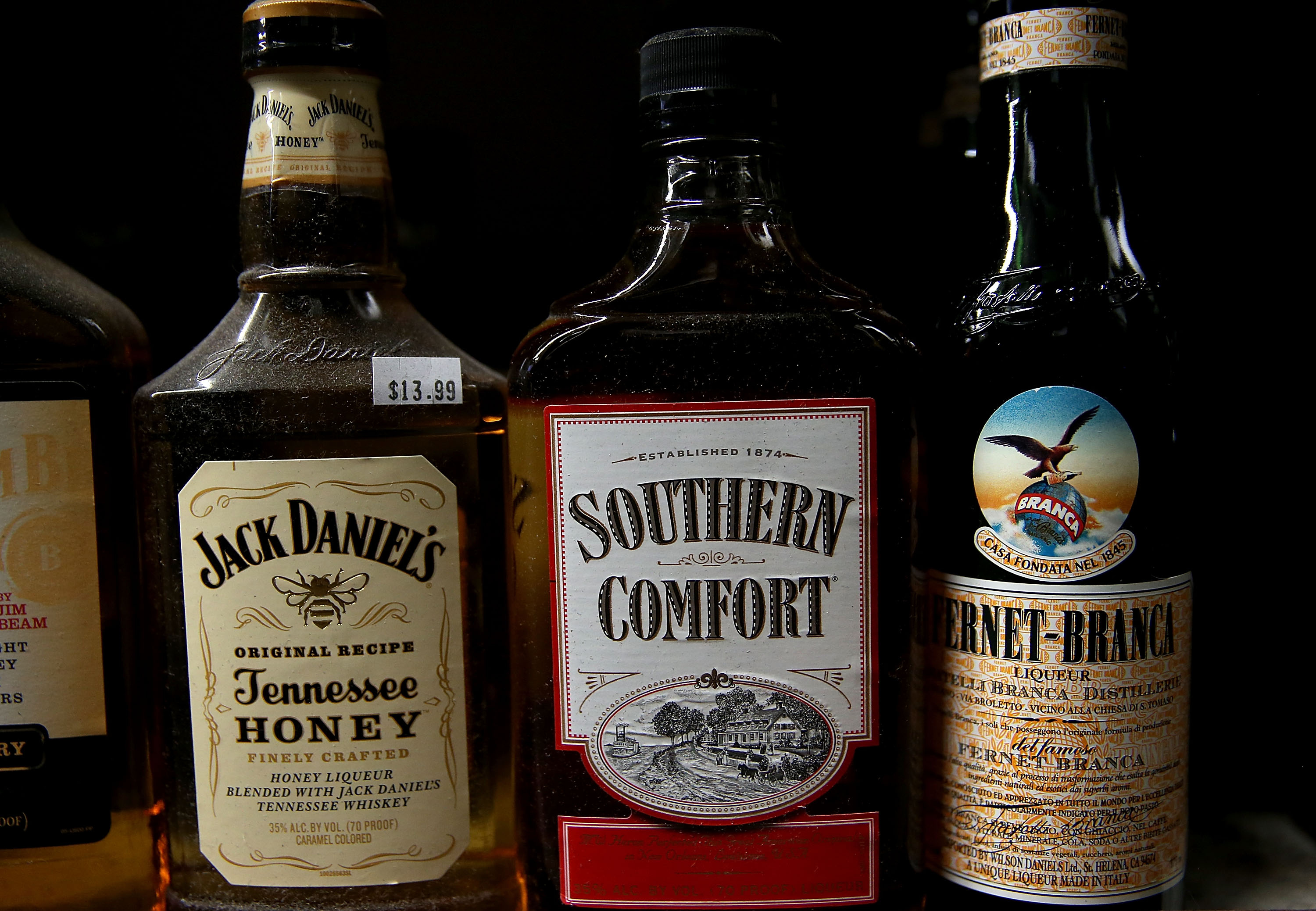 A bottle of Southern Comfort whiskey is displayed on a shelf at a liquor store on January 14, 2016 in San Anselmo, California.
