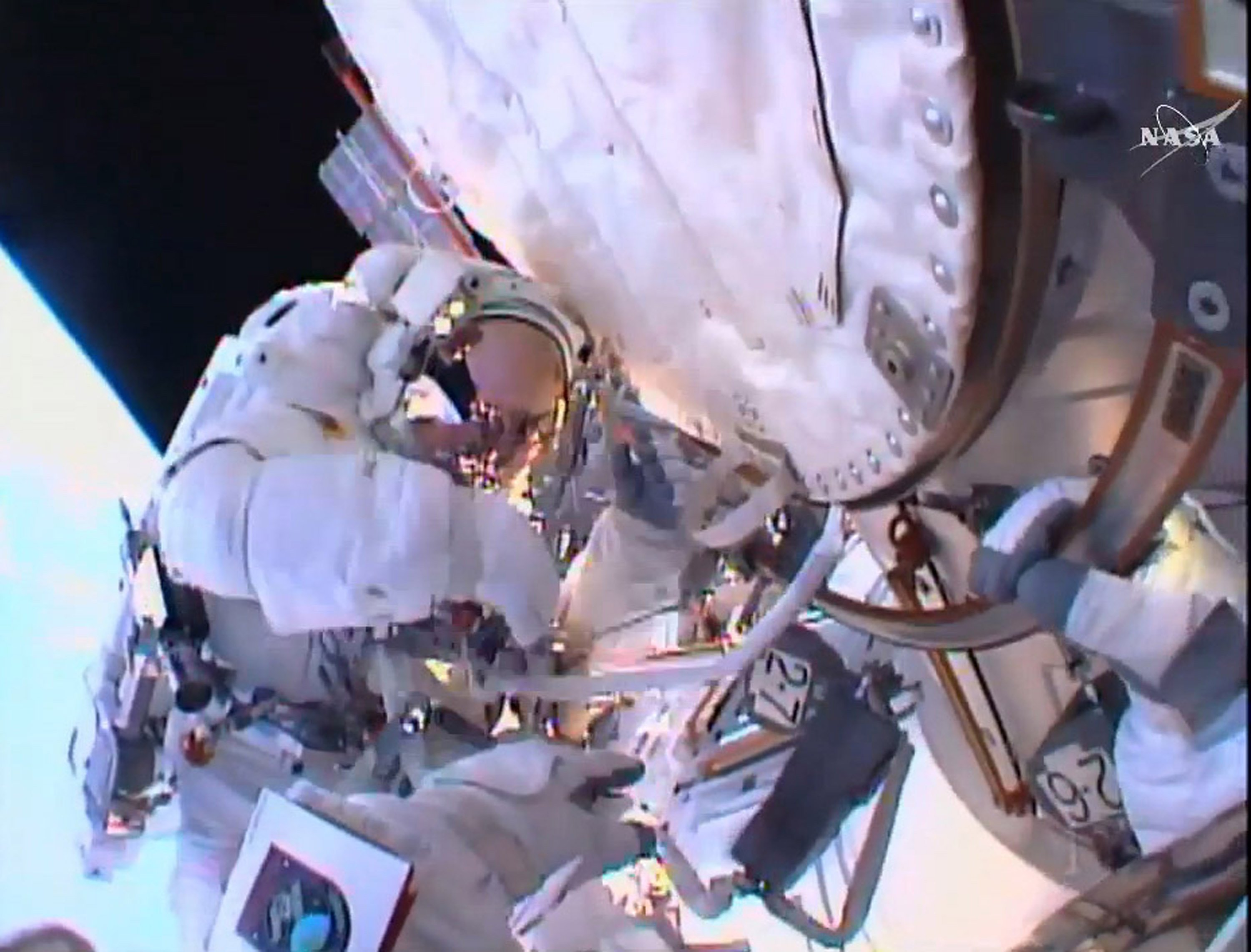 Astronaut Tim Peake seen on his first-ever spacewalk after having replaced a faulty voltage regulator on the International Space Station on Jan. 15, 2016.