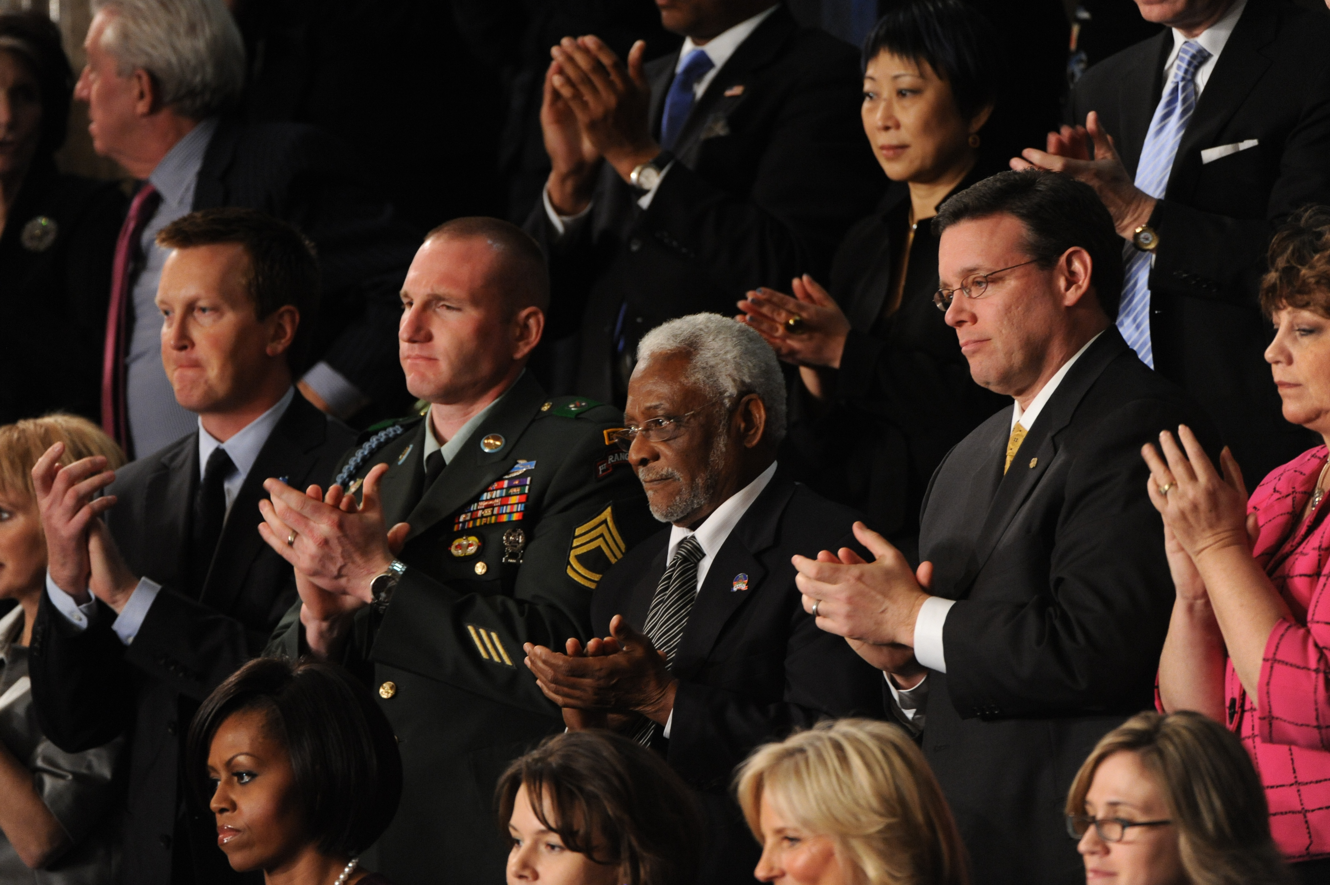The Ambassador to Haiti, Raymond Joseph (center) attends President Obama's State of the Union speech on Jan. 27, 2010. Joseph helped Haiti with its first democratic election in 1990 and championed post-earthquake reconstruction.