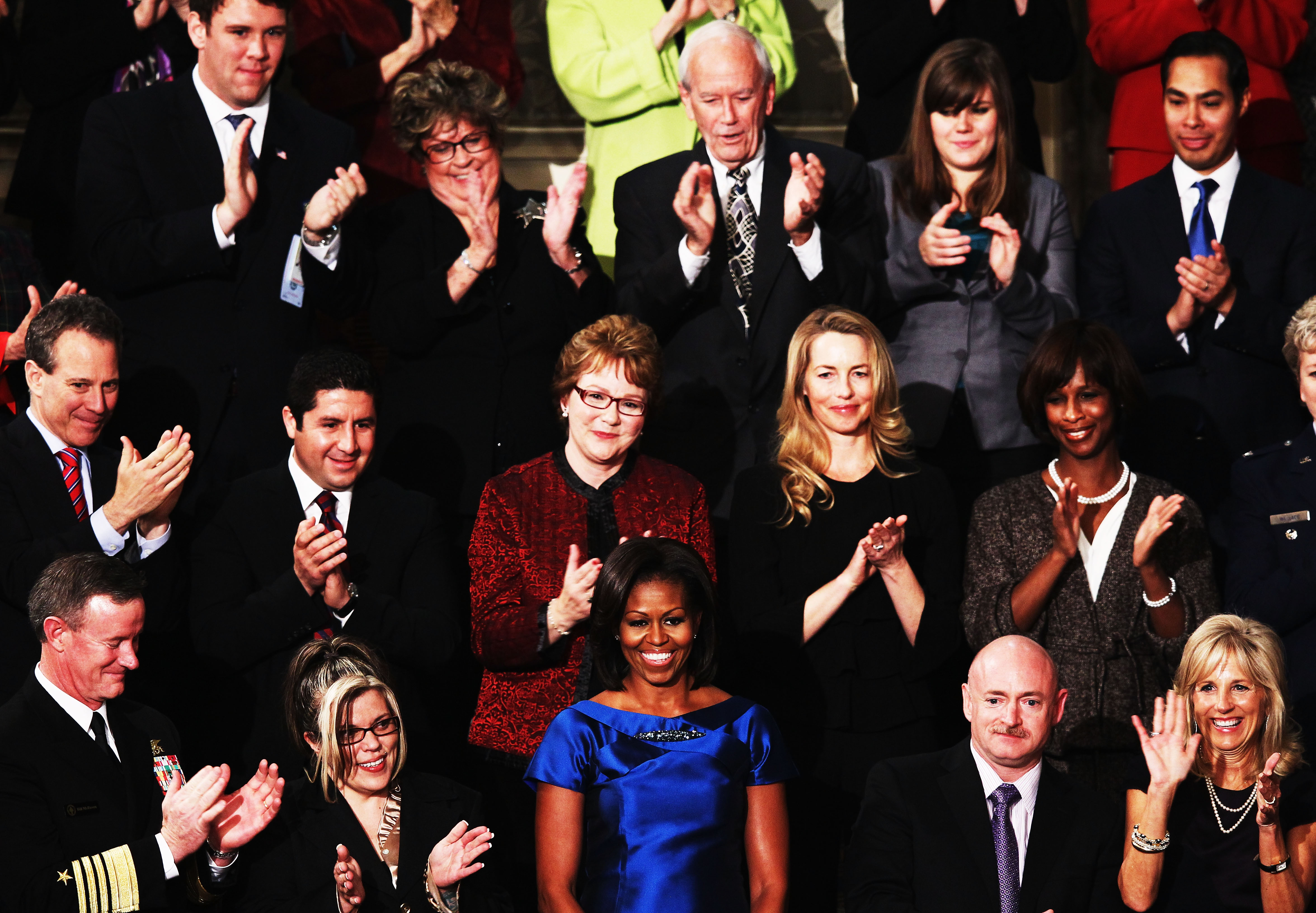First Lady Michelle Obama receives applause prior to the start of President Barack Obama's State of the Union speech Jan 24, 2012 in Washington. Among the attendees is Admiral William McRaven who commands the Joint Special Operations Command and is credited with executing Operation Neptune's Spear, the specials ops raid that led to the death of Osama bin Laden.