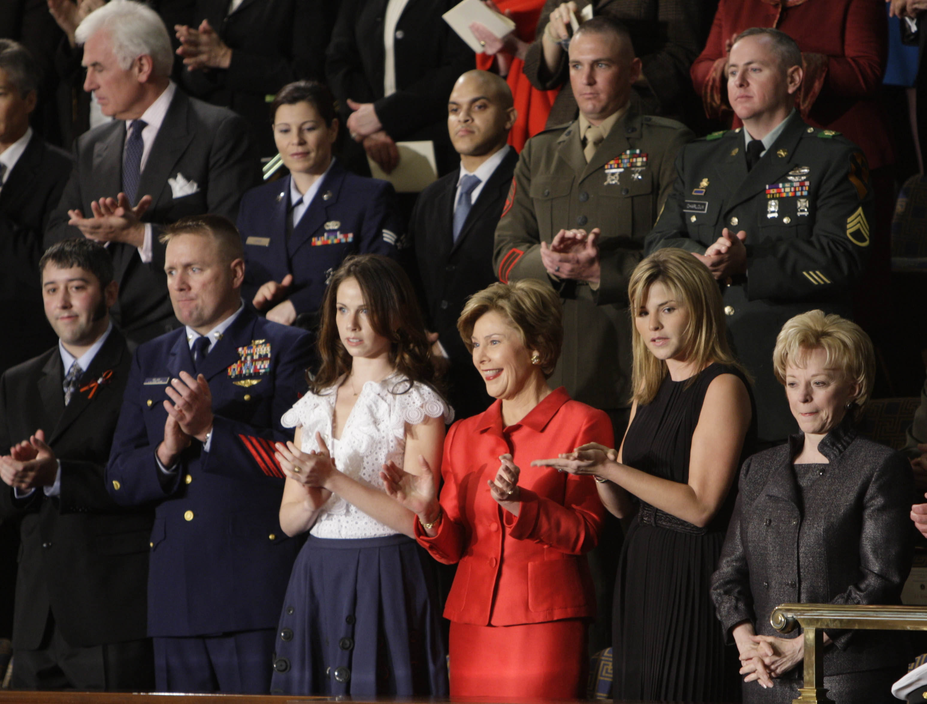 Irvin Mayfield (2nd row: 2nd from left) attends President Bush's State of the Union speech on Jan. 28, 2008. After losing his family in Hurricane Katrina, the jazz trumpeter was named cultural ambassador for the City of New Orleans by Congress.