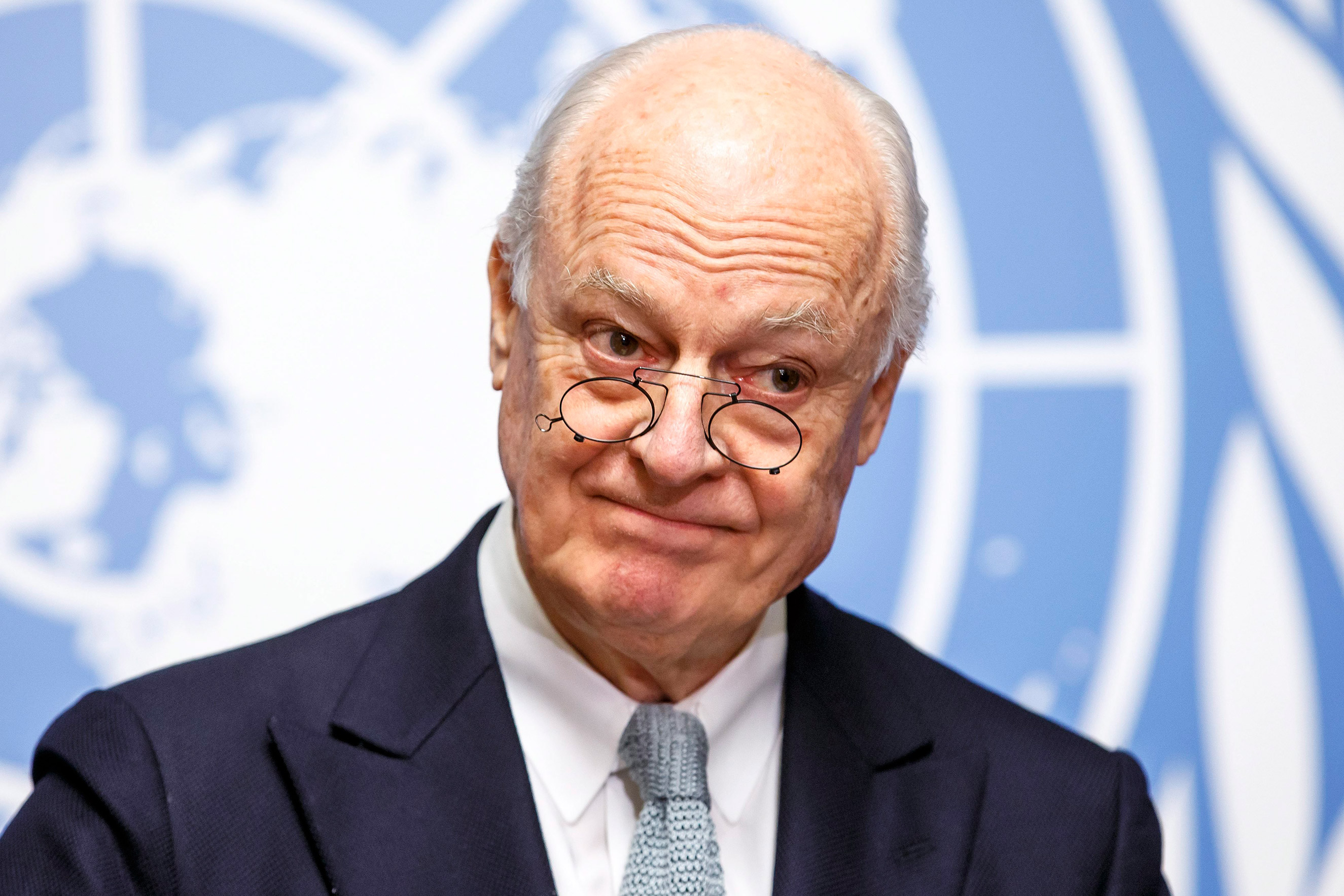 United Nations Special Envoy of the Secretary-General for Syria Staffan de Mistura informs the media on the upcoming talks during a press conference in Geneva, Switzerland, Jan. 25, 2016.