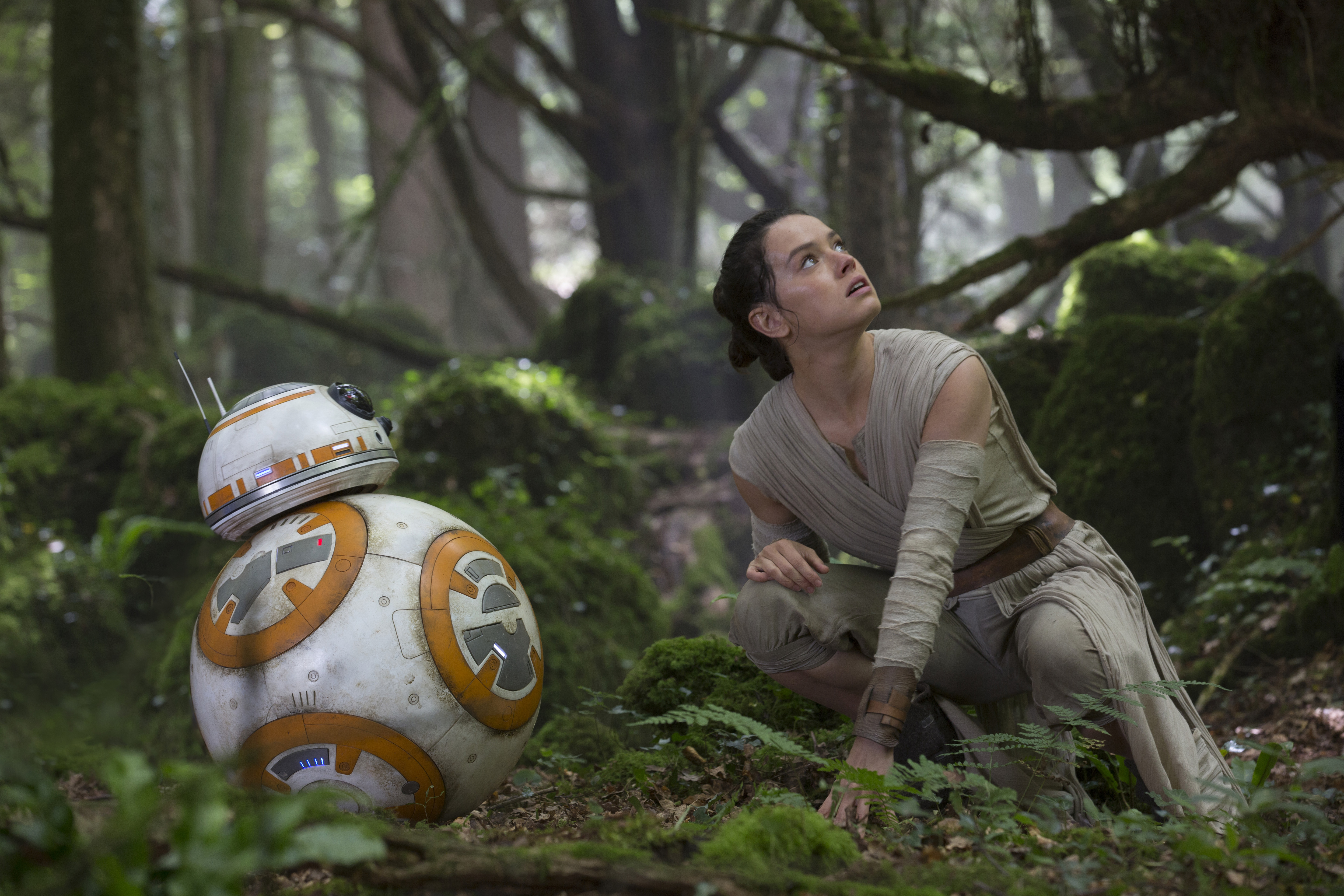 BB-8 and Rey, Daisy Ridley, in  Star Wars: The Force Awakens.