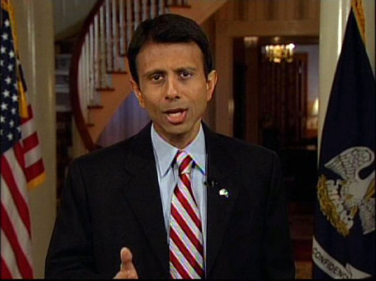 This still from video shows Louisiana Gov. Bobby Jindal in Baton Rouge, La. as he delivers the Republican Party's official response to President Barack Obama's State of the Union address to a joint session of Congress on Tuesday Feb. 24, 2009.