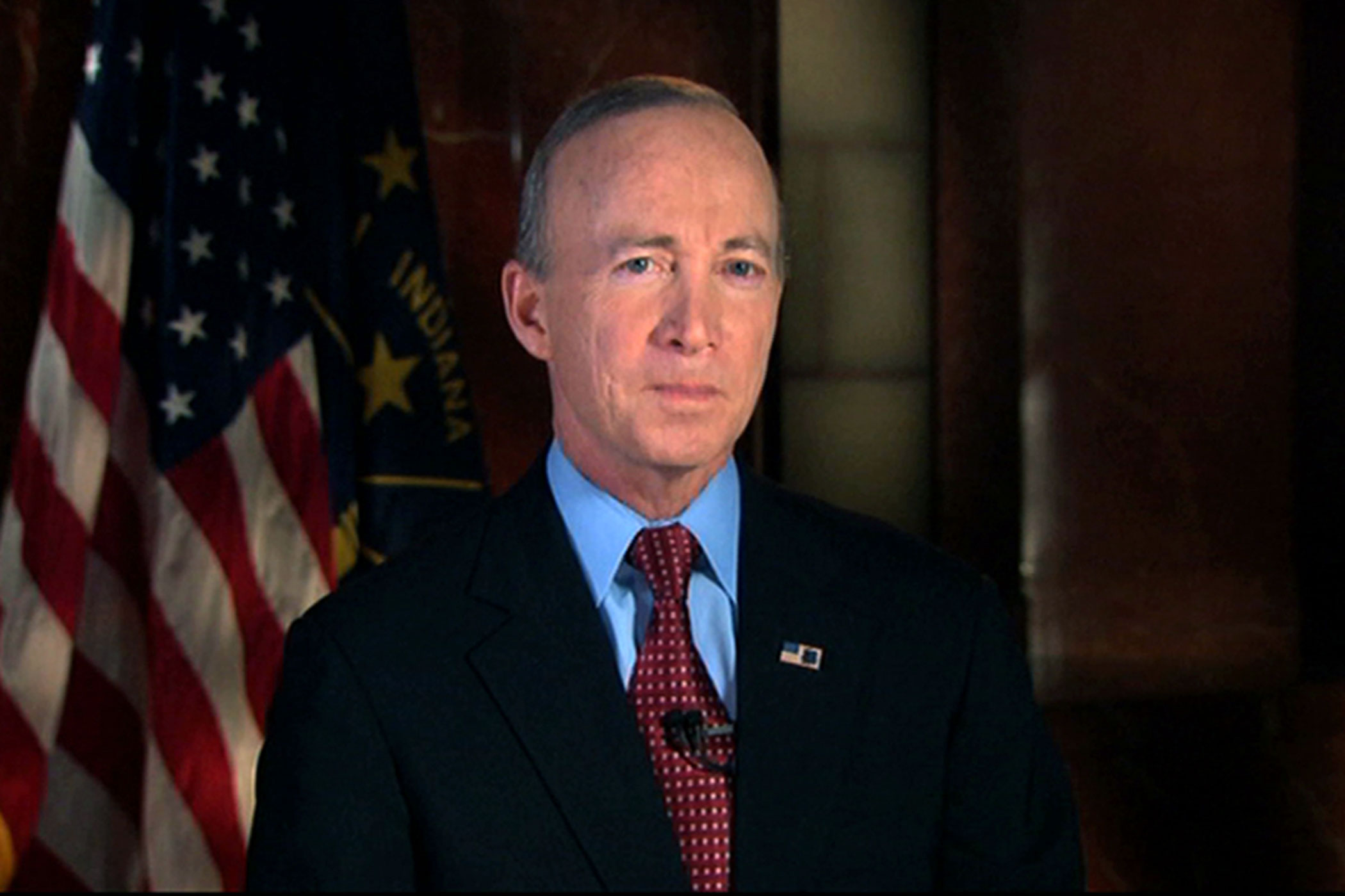 This still image from video shows Indiana Gov. Mitch Daniels delivering the Republican response to President Barack Obama's State of the Union address in Washington on Jan. 24, 2012.