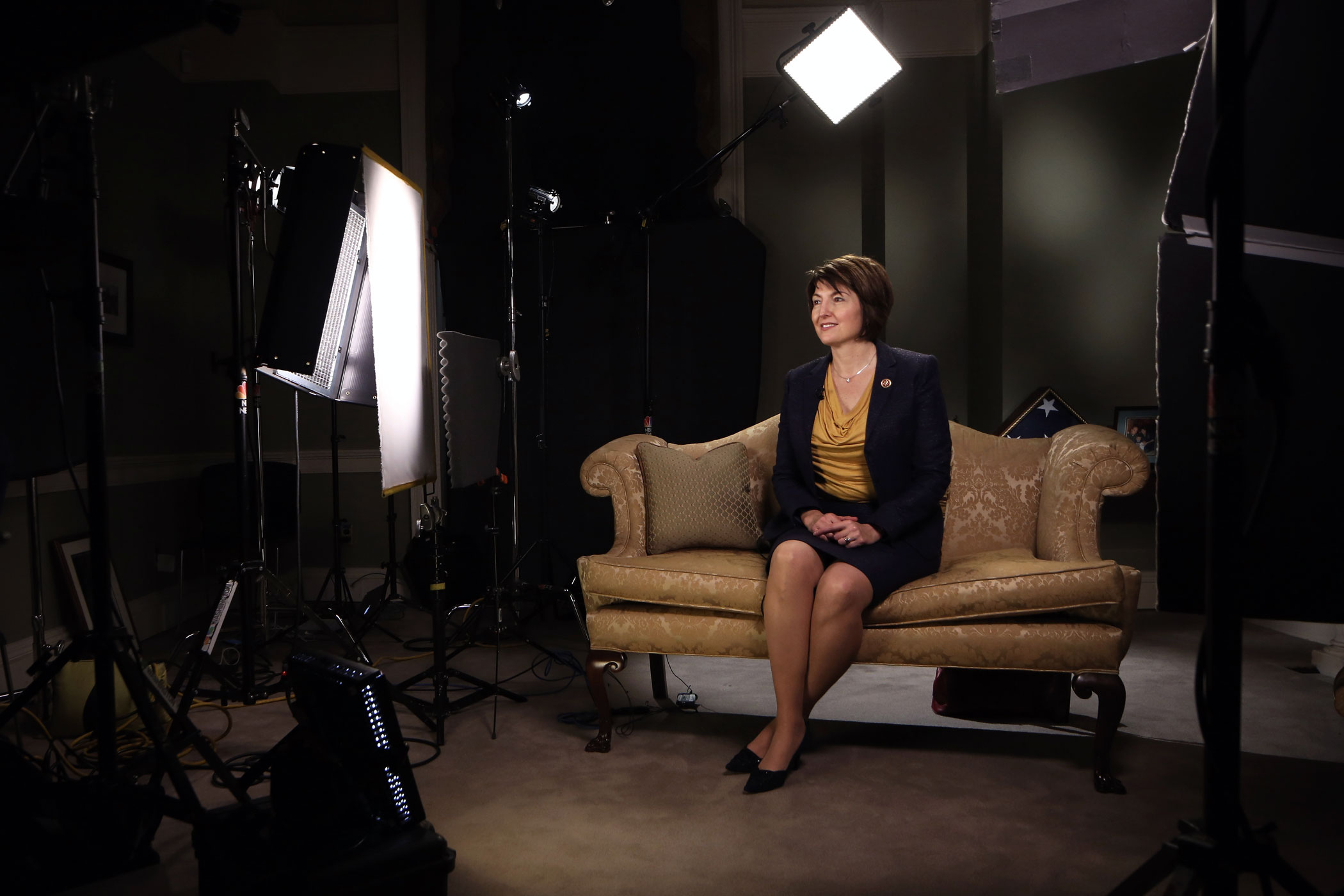 U.S. Rep. Cathy McMorris Rodgers sits on a couch before responding to President Barack Obama's State of the Union address on Jan. 28, 2014 on Capitol Hill in Washington.