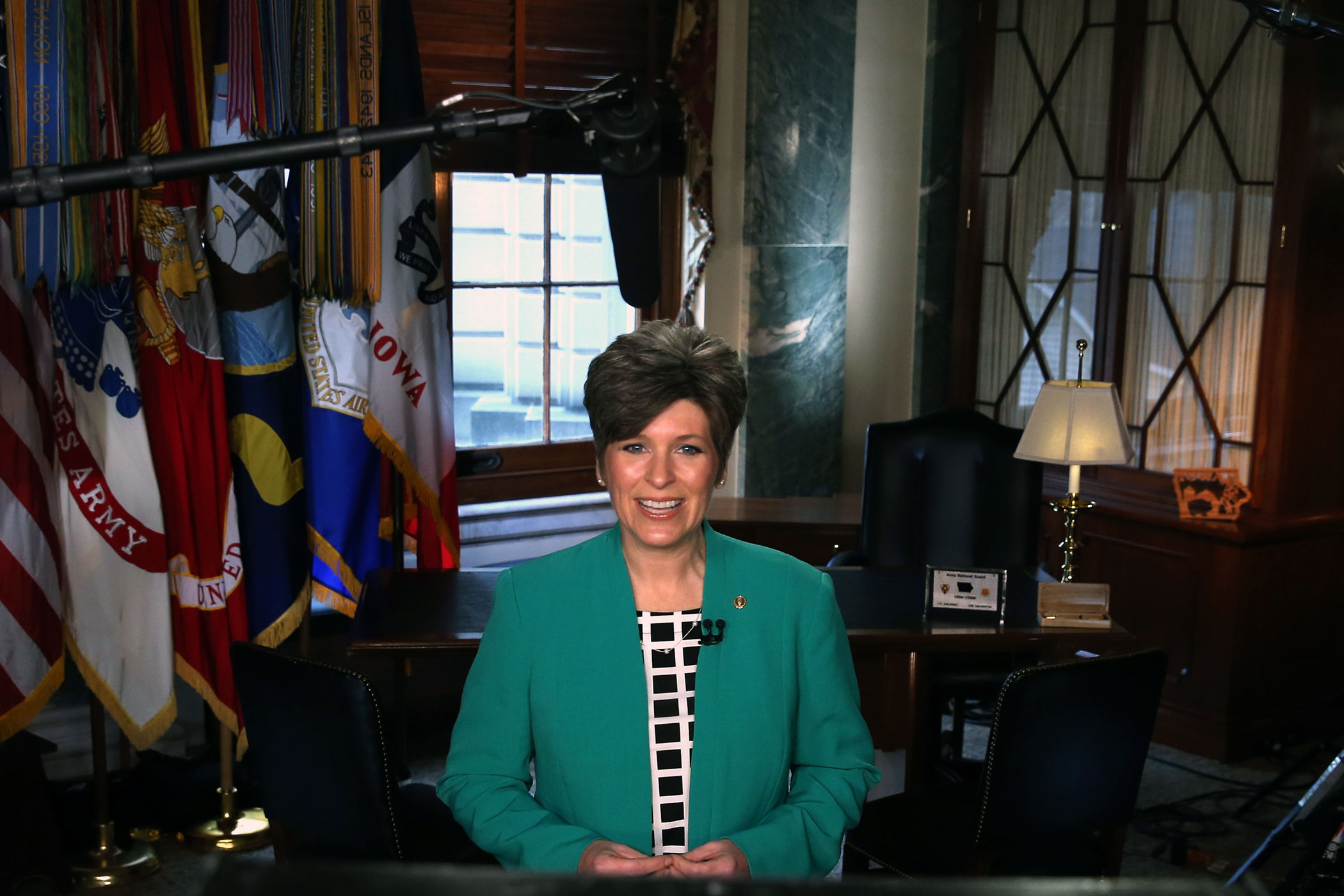 U.S. Sen. Joni Ernst prepares to deliver the Republican response to President Barack Obama's State of the Union address, on Capitol Hill on Jan. 20, 2015 in Washington.