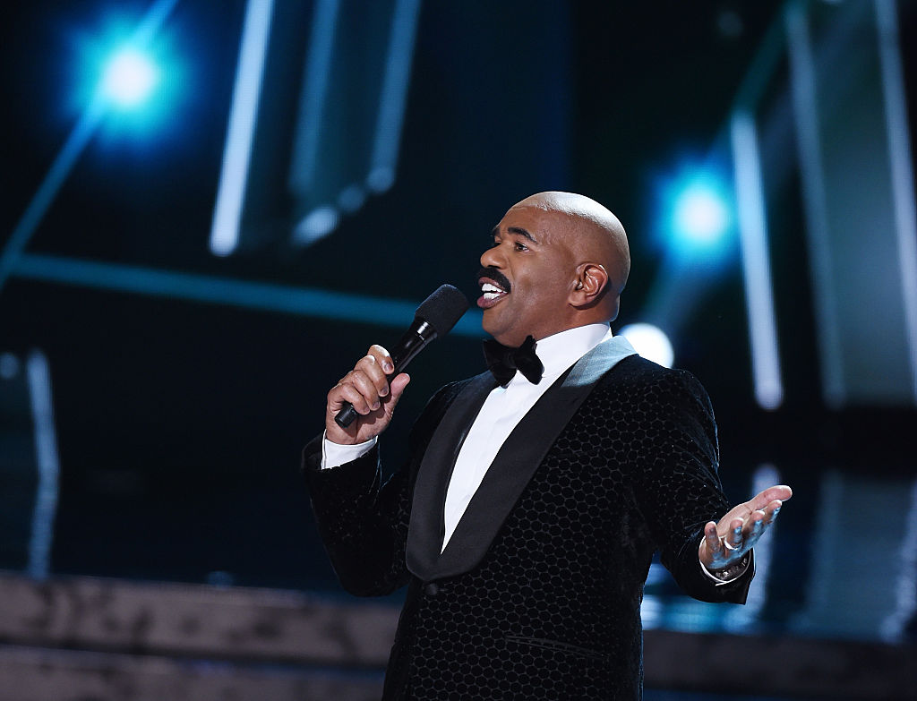 Steve Harvey hosts the 2015 Miss Universe Pageant on December 20, 2015 in Las Vegas, Nevada.