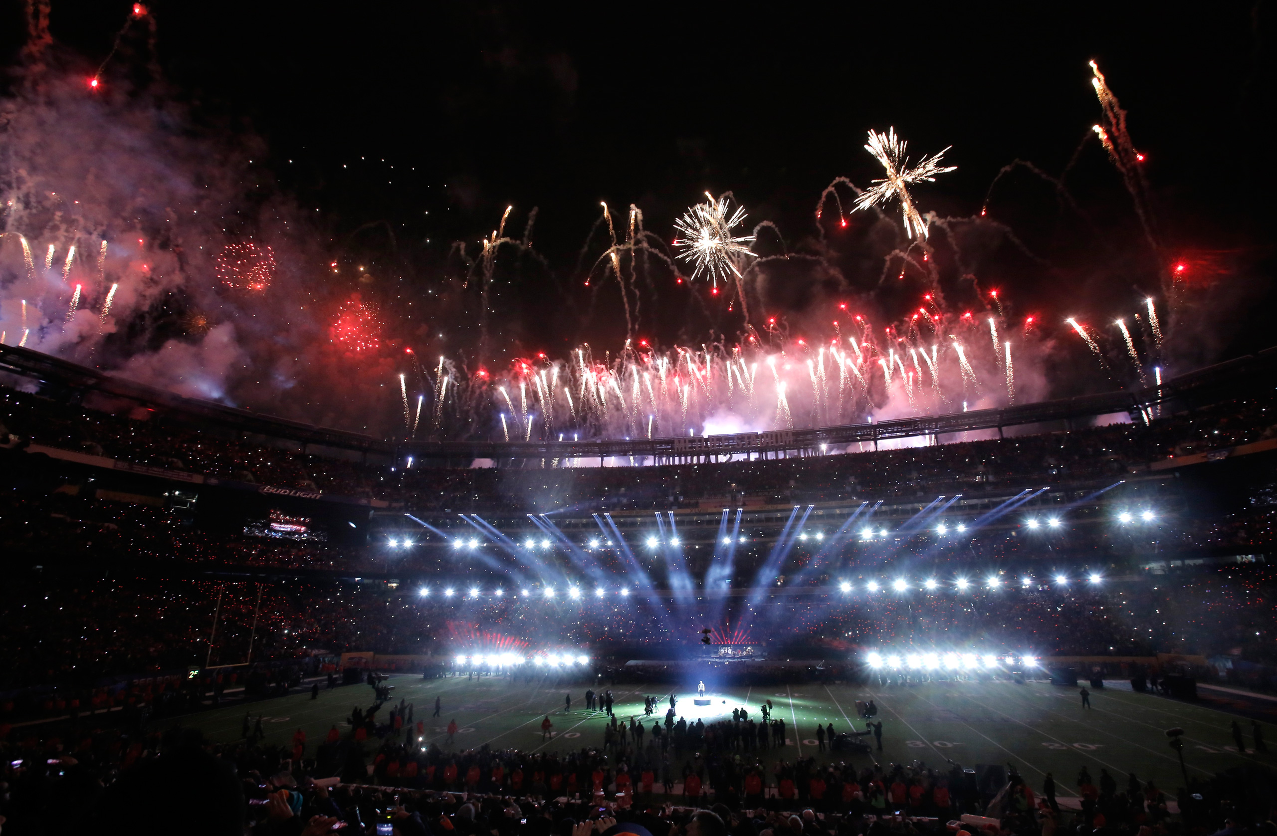 Halftime fireworks erupt during the half-time show of the NFL Super Bowl XLVIII football game between the Denver Broncos and the Seattle Seahawks in East Rutherford, N.J., on Feb. 2, 2014.
