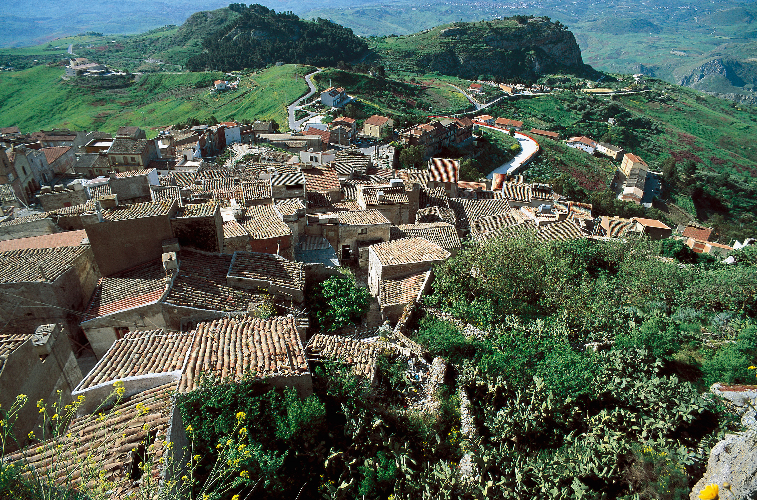 An overhead view of the village of Sutera, Sicily, Italy, on July 23, 2007.
