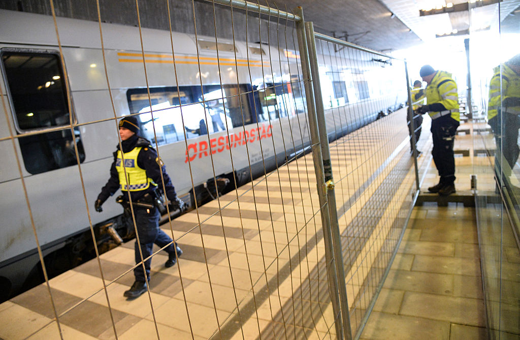 A temporary fence is erected between domestic and international tracks at Hyllie train station in southern Malmo, Sweden, on Jan. 3, 2016, to ease border control preventing illegal migrants to enter Sweden.