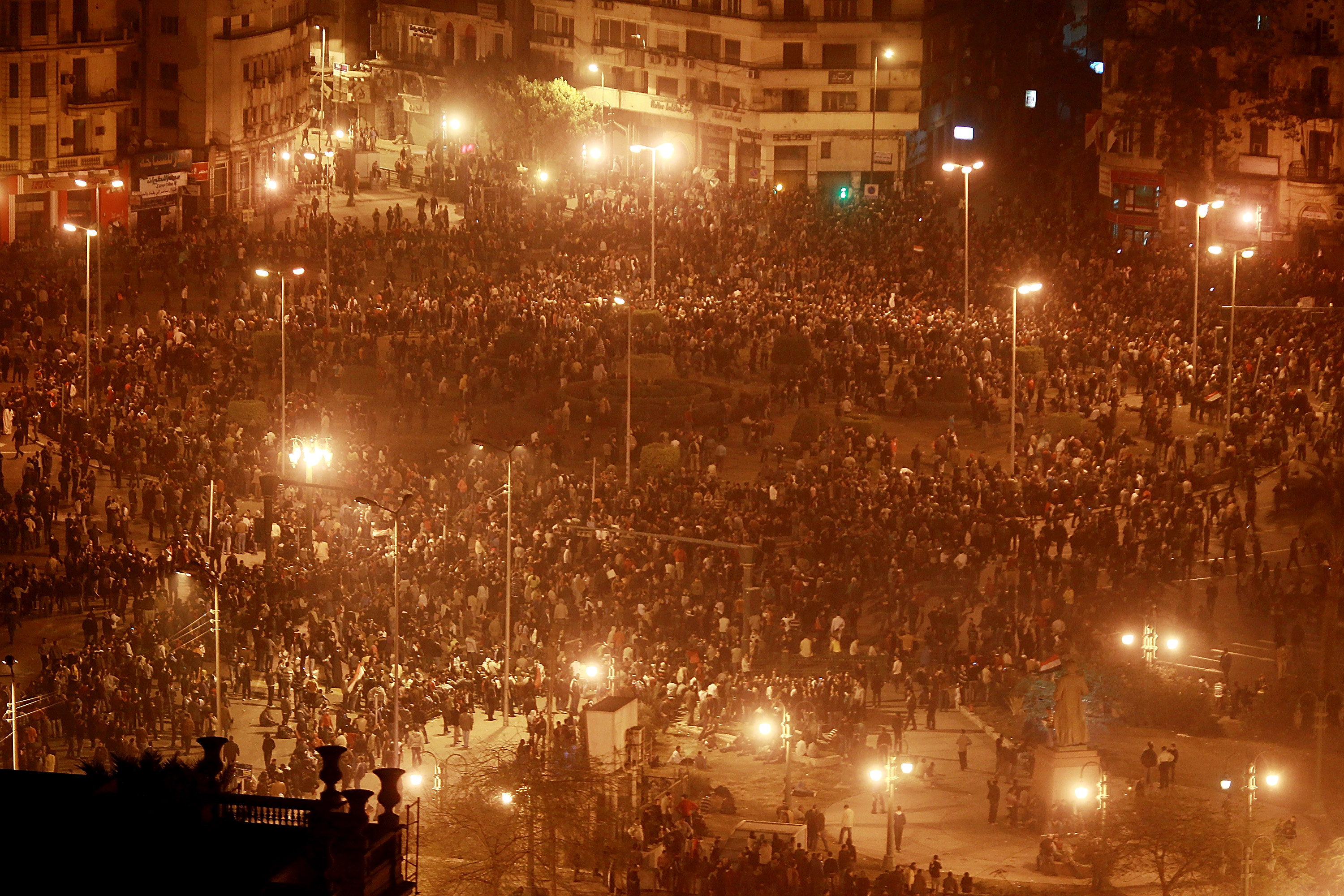Thousands of protestors gathered in Tahrir Square on Jan. 28, 2011 in Cairo, Egypt. Thousands of police were on the streets of the capital and hundreds of arrests were made in an attempt to quell demonstrations.
