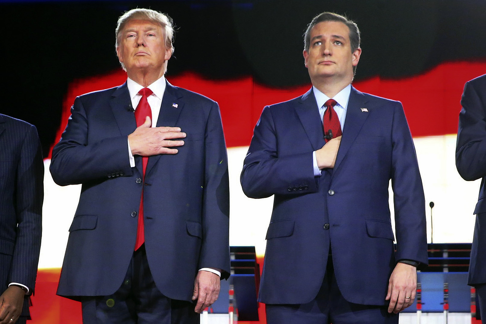 Republican presidential candidates Donald Trump and Texas Sen. Ted Cruz stand during a Republican presidential debate in Las Vegas in December.