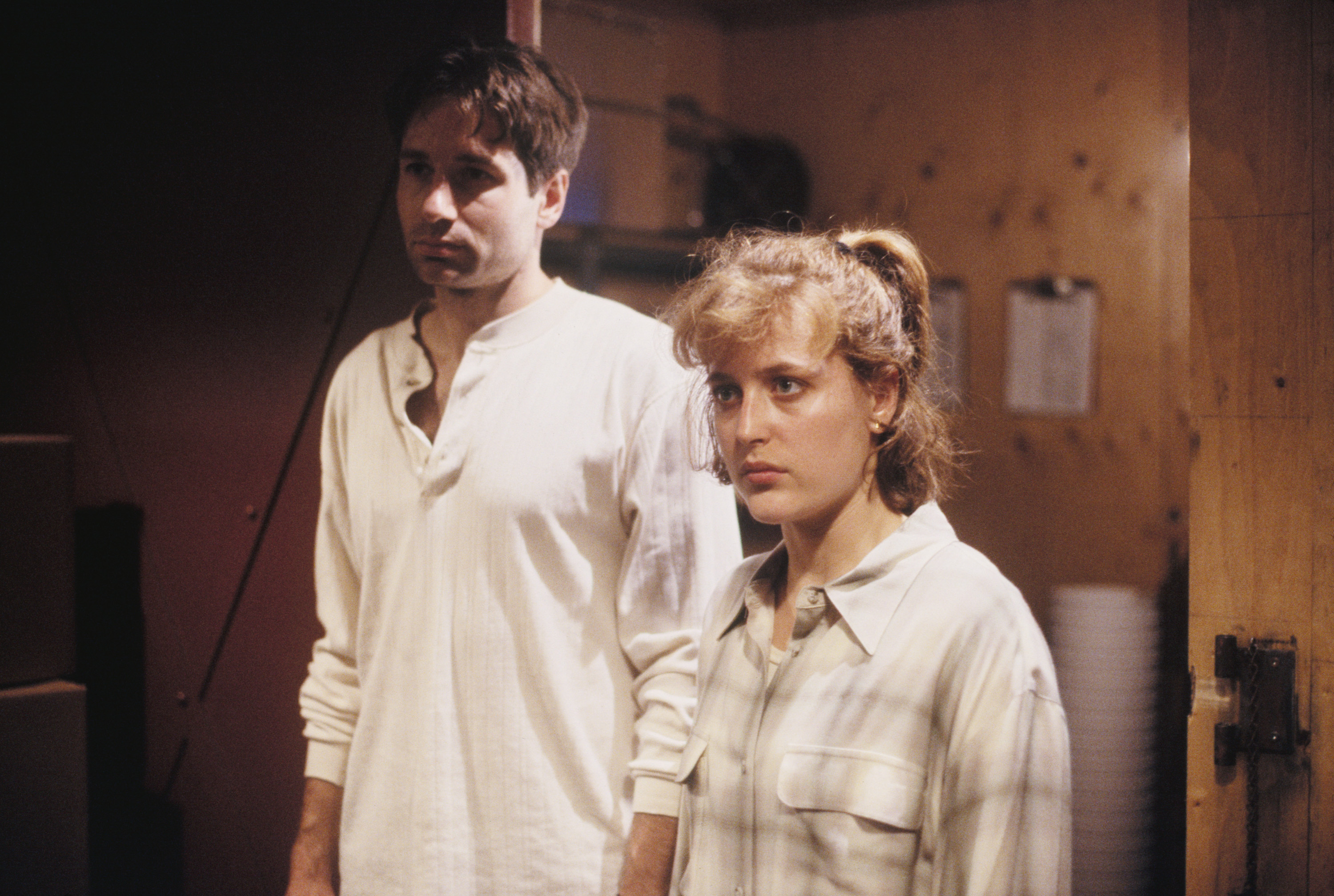 Gillian Anderson and David Duchovny are seen in <i>The X-Files</i> in 1993.