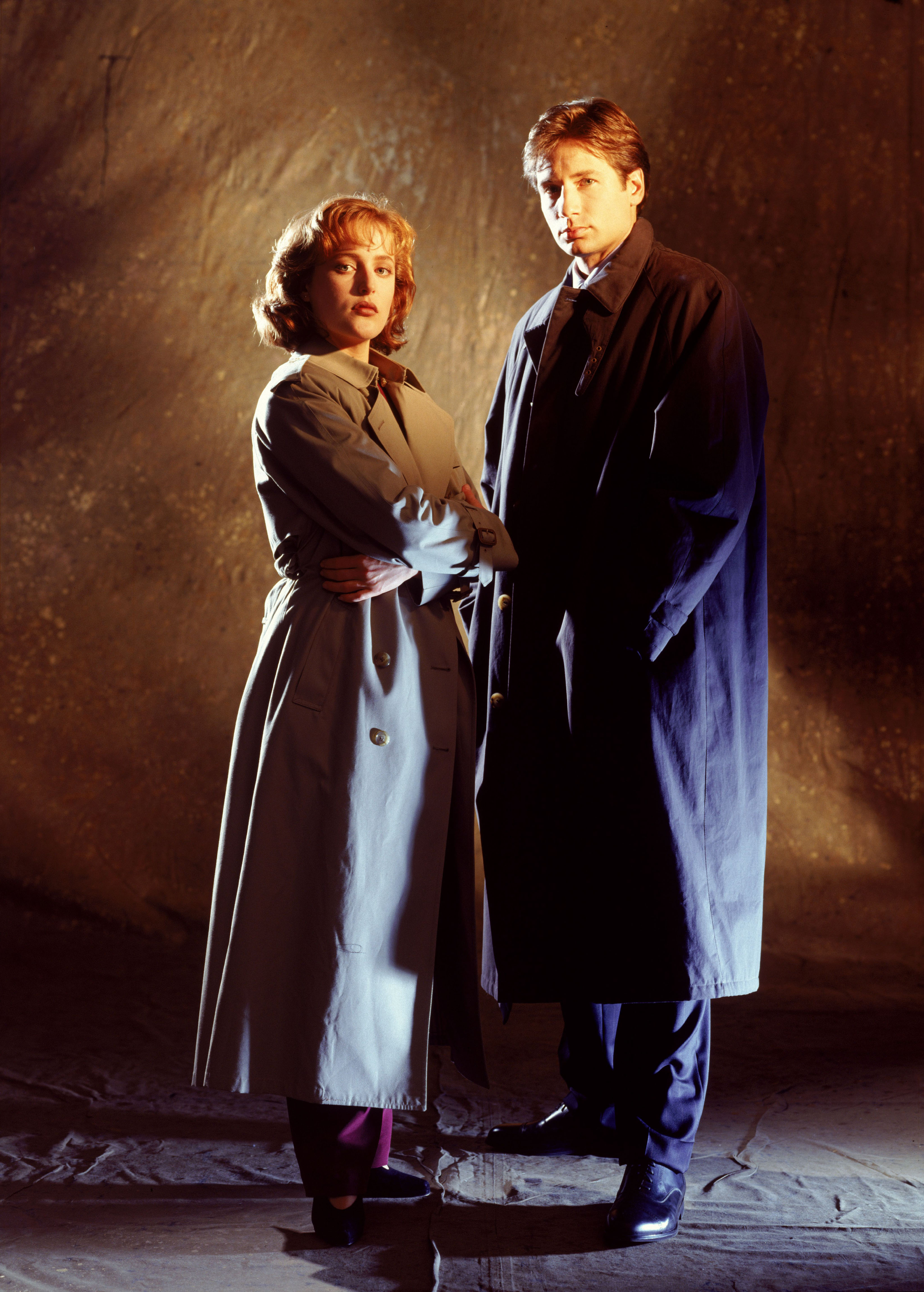 Gillian Anderson and David Duchovny are seen in a promotional still for <i>The X-Files</i> season 1 in 1993.