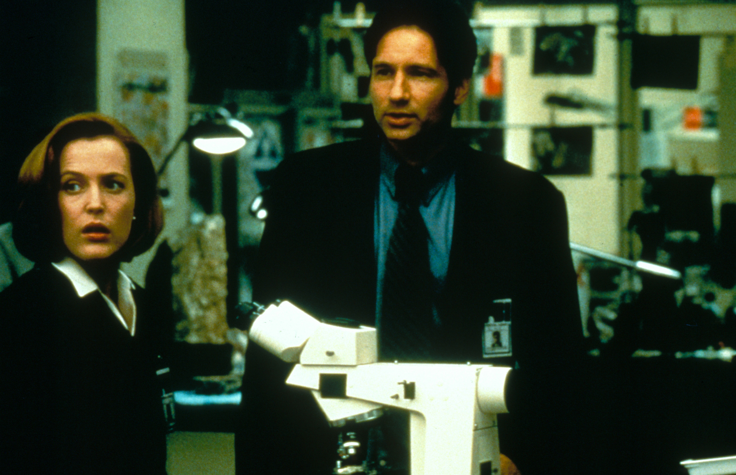 Gillian Anderson and David Duchovny are seen in <i>The X-Files</i> film in 1998.