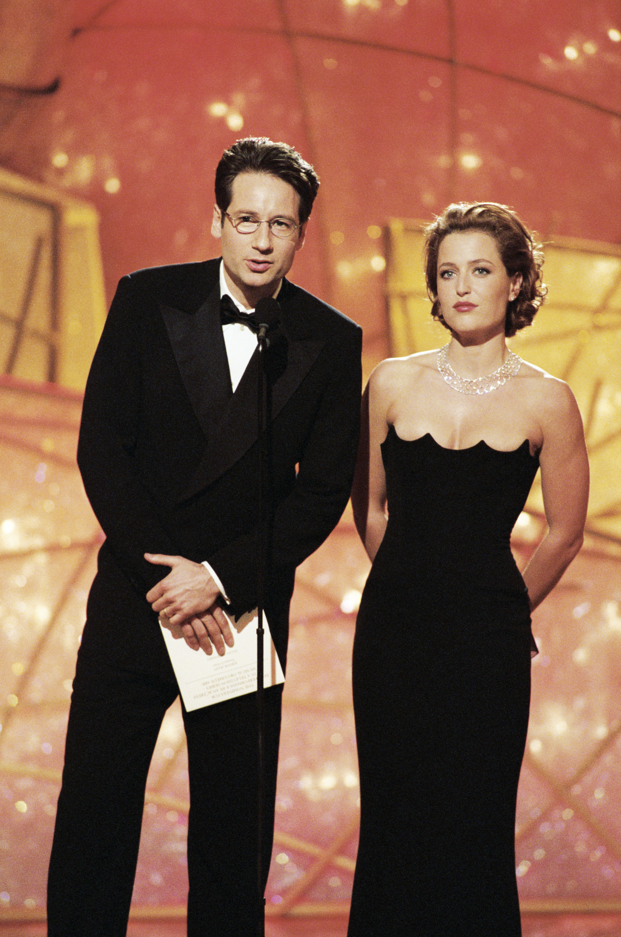 David Duchovny and Gillian Anderson are seen onstage during the 55th Annual Golden Globe Awards in Beverly Hills, Calif. on Jan. 18, 1998.