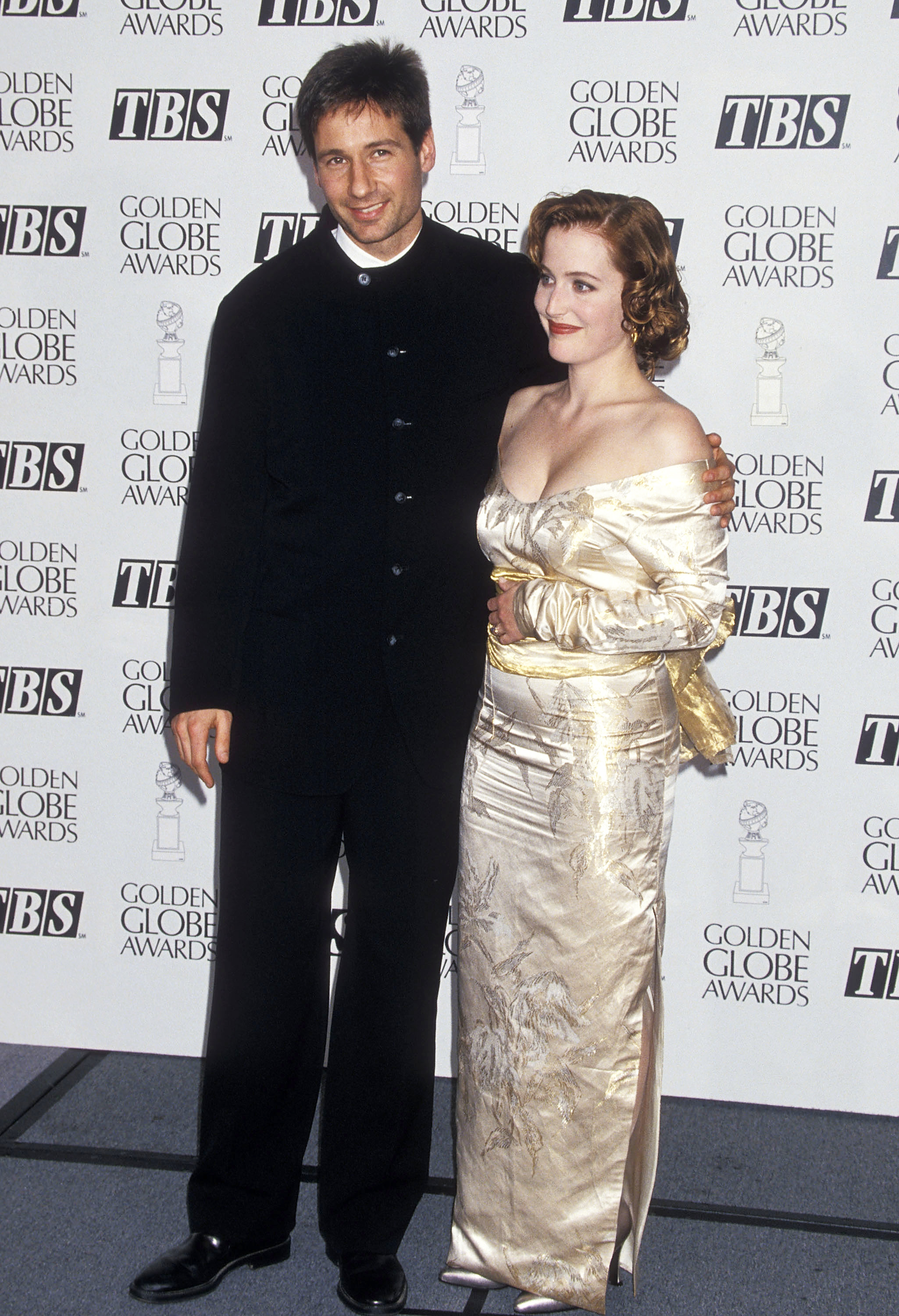David Duchovny and Gillian Anderson attend the 52nd Annual Golden Globe Awards in Beverly Hills, Calif. on Jan. 21, 1995.