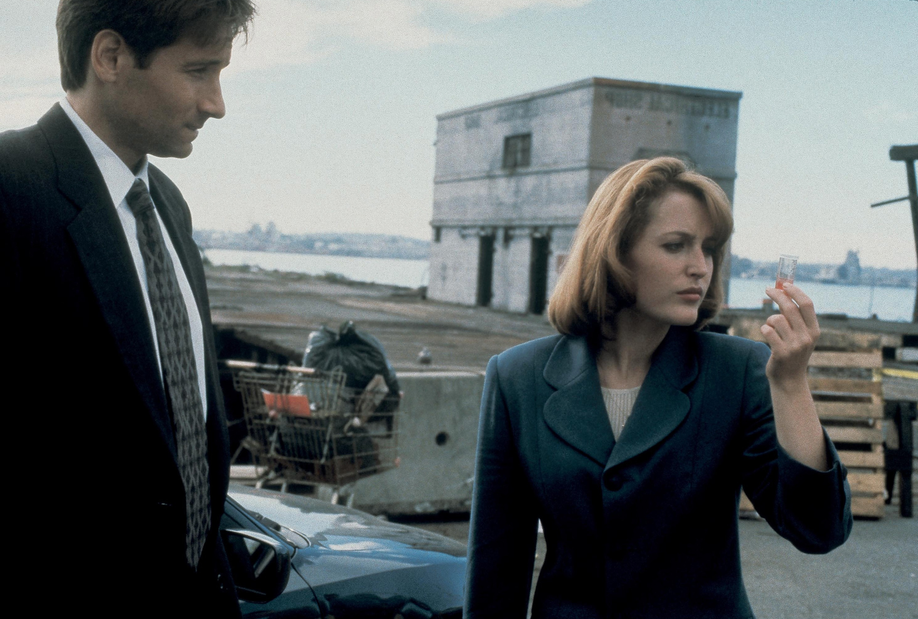 David Duchovny and Gillian Anderson are seen in The X-Files in 1995.