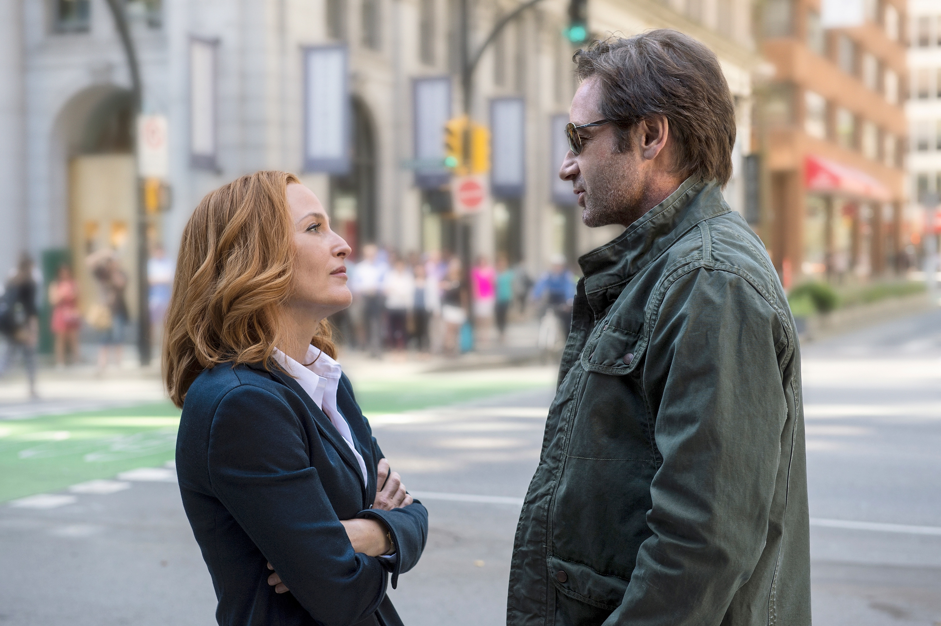 Gillian Anderson and David Duchovny are seen in <i>The X-Files</i> miniseries in 2016.