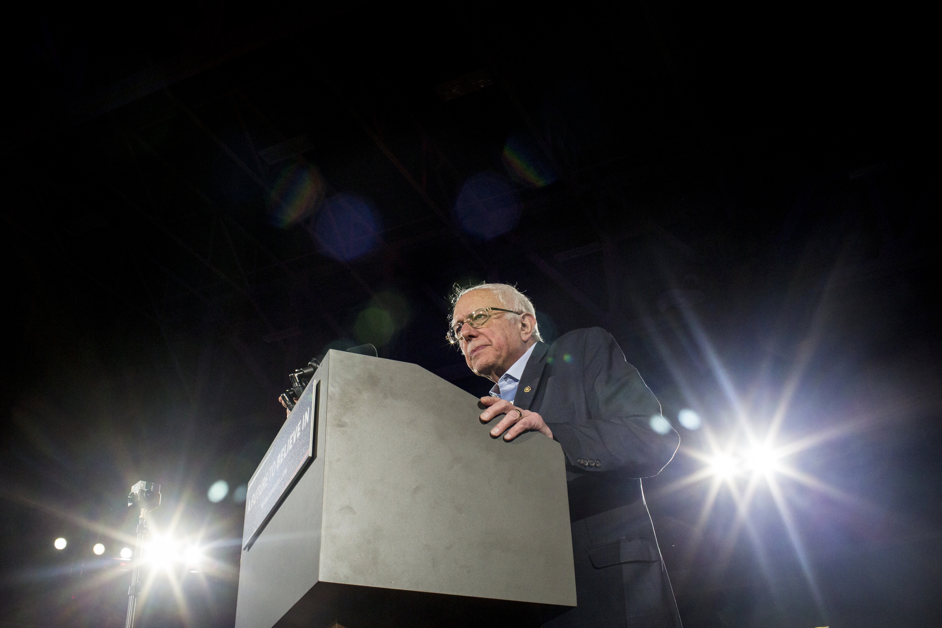 Bernie Sanders speaks to supporters at a campaign rally and concert in Iowa City, Iowa on Jan. 30, 2016.