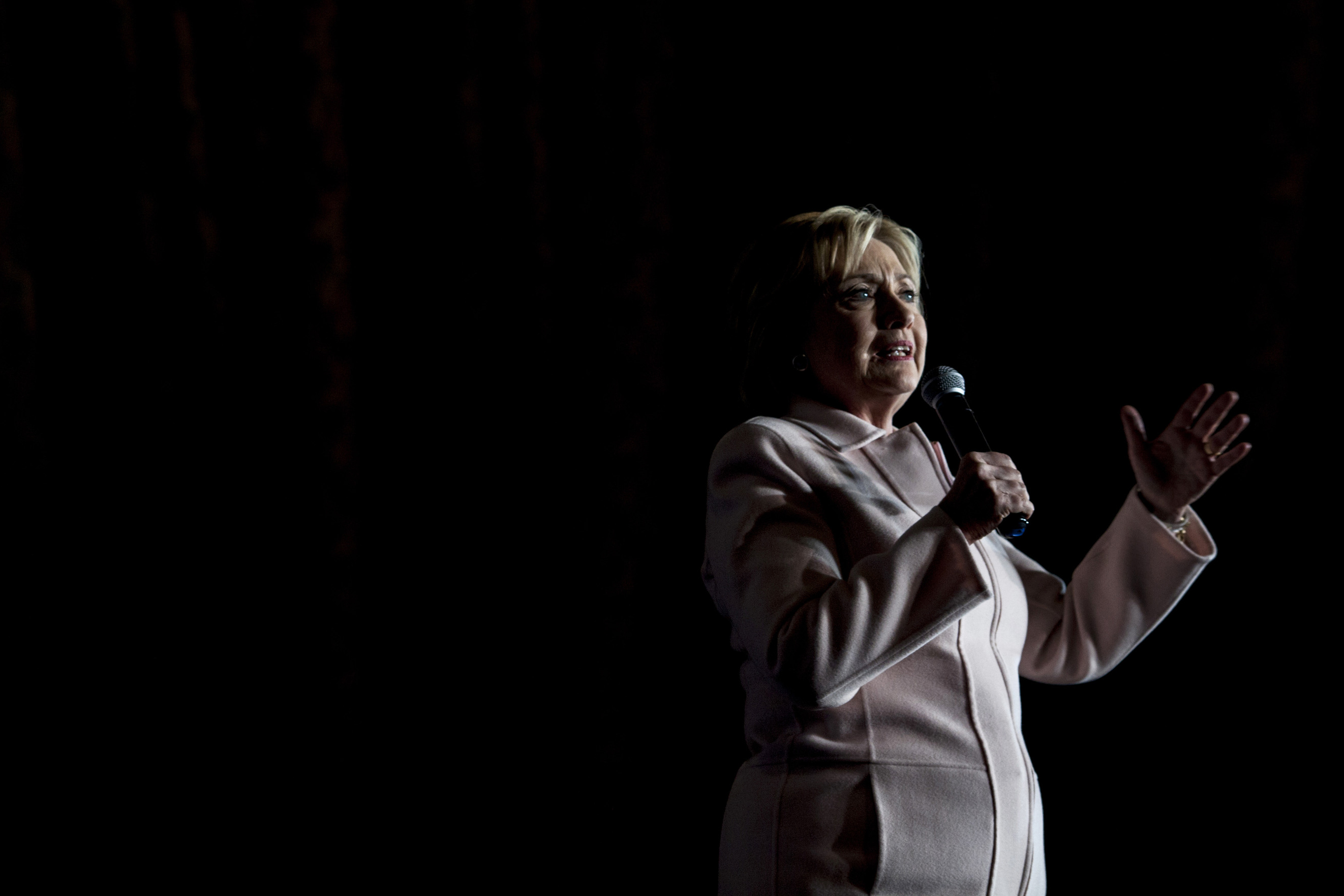 Hillary Clinton speaks during a campaign rally with husband Bill Clinton in Davenport, Iowa on Jan. 29, 2016.